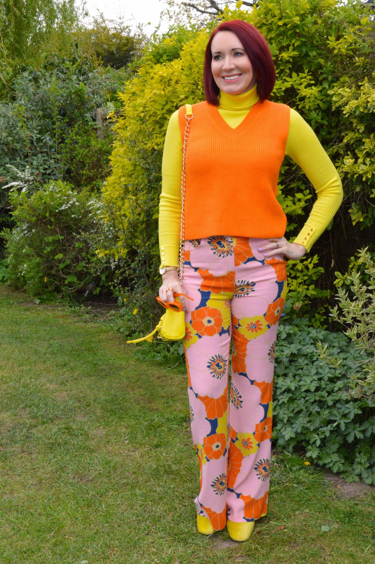 Zara Floral Print Trousers, Zara orange knitted vest, New Look yellow ribbed jumper