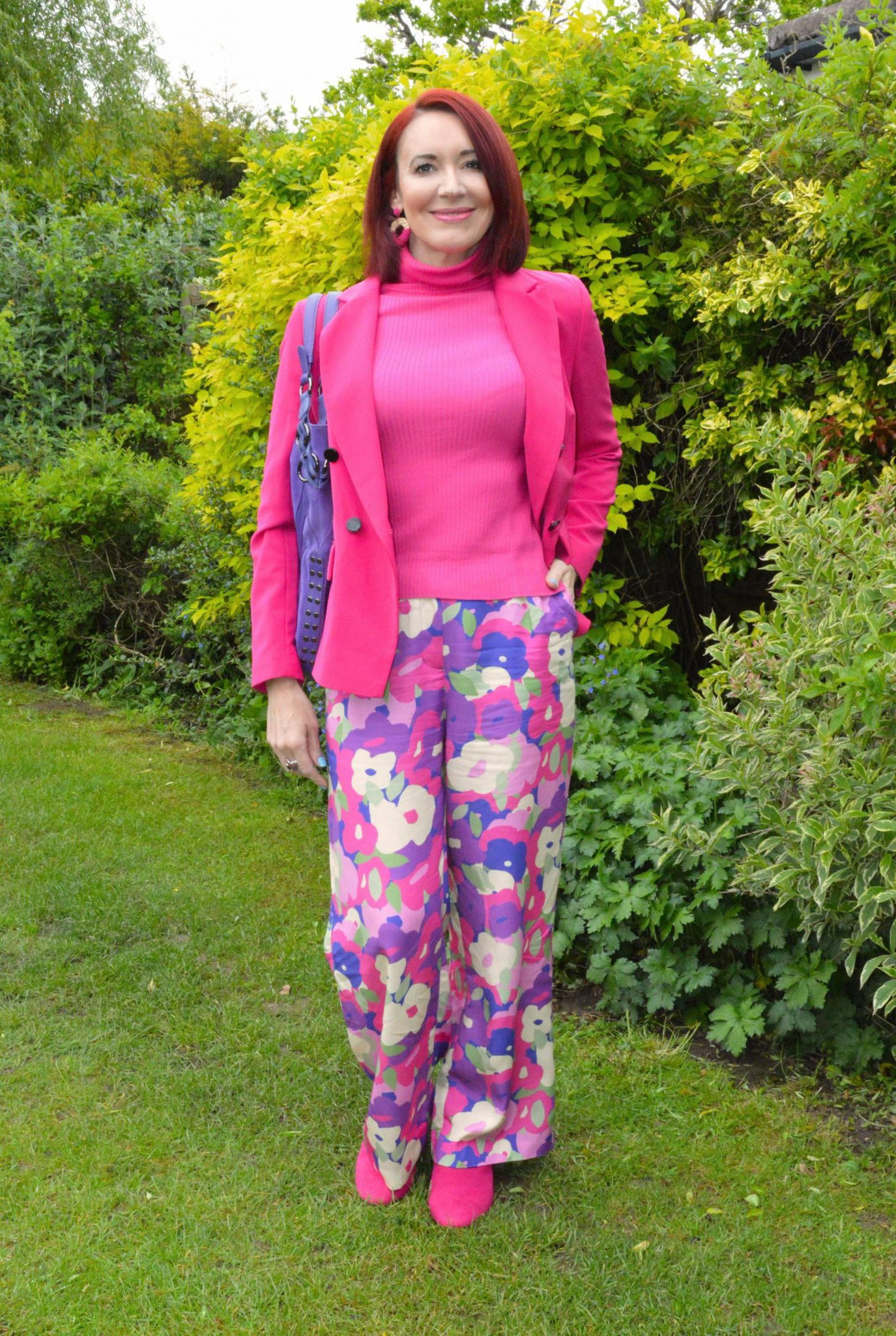 Monki Floral Print Wide Leg Trousers and Hot Pink Jacket