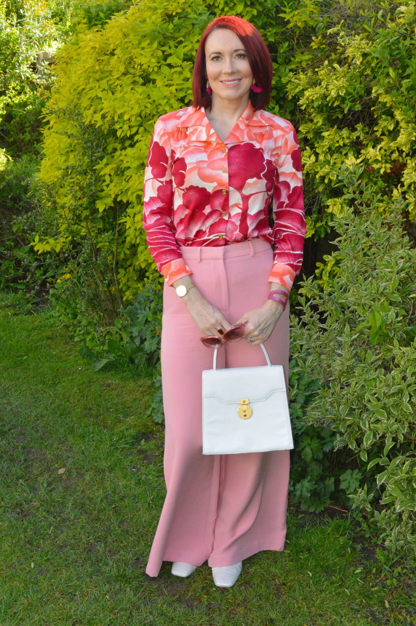 Pastel Pink Wide Leg Trousers and Vintage Shirt