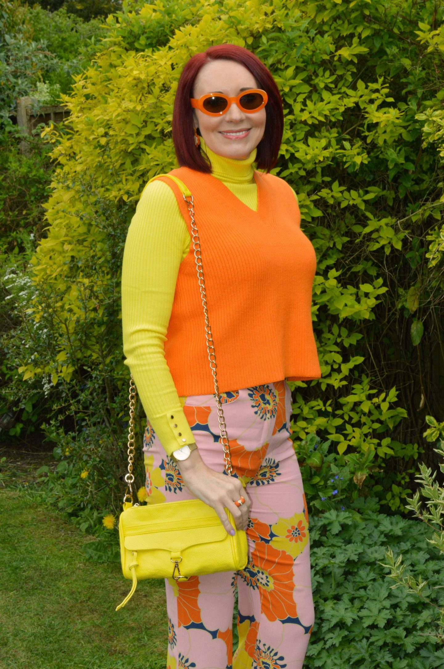 Zara orange knitted vest, New Look yellow ribbed jumper, Zara orange frame sunglasses