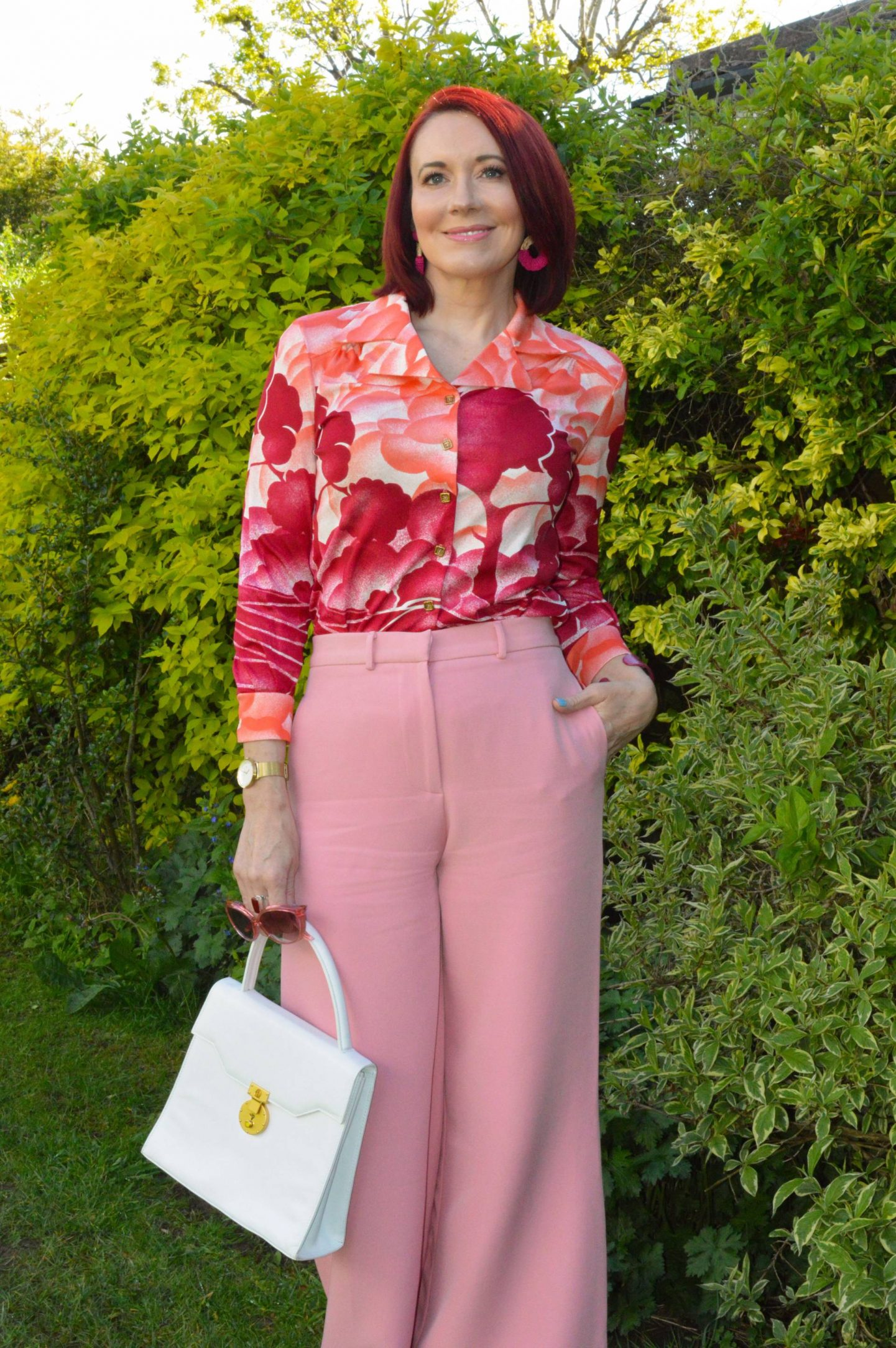 Vintage Shirt floral print shirt, white top handle handbag