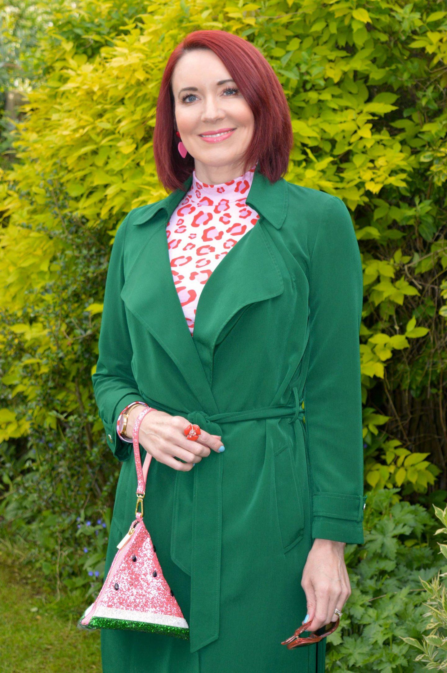 Green and Pink Animal Print, Saturday by Megan Ellaby Hazel pink animal print top, Skinny Dip glitter warermelon bag, Papaya green trench coat