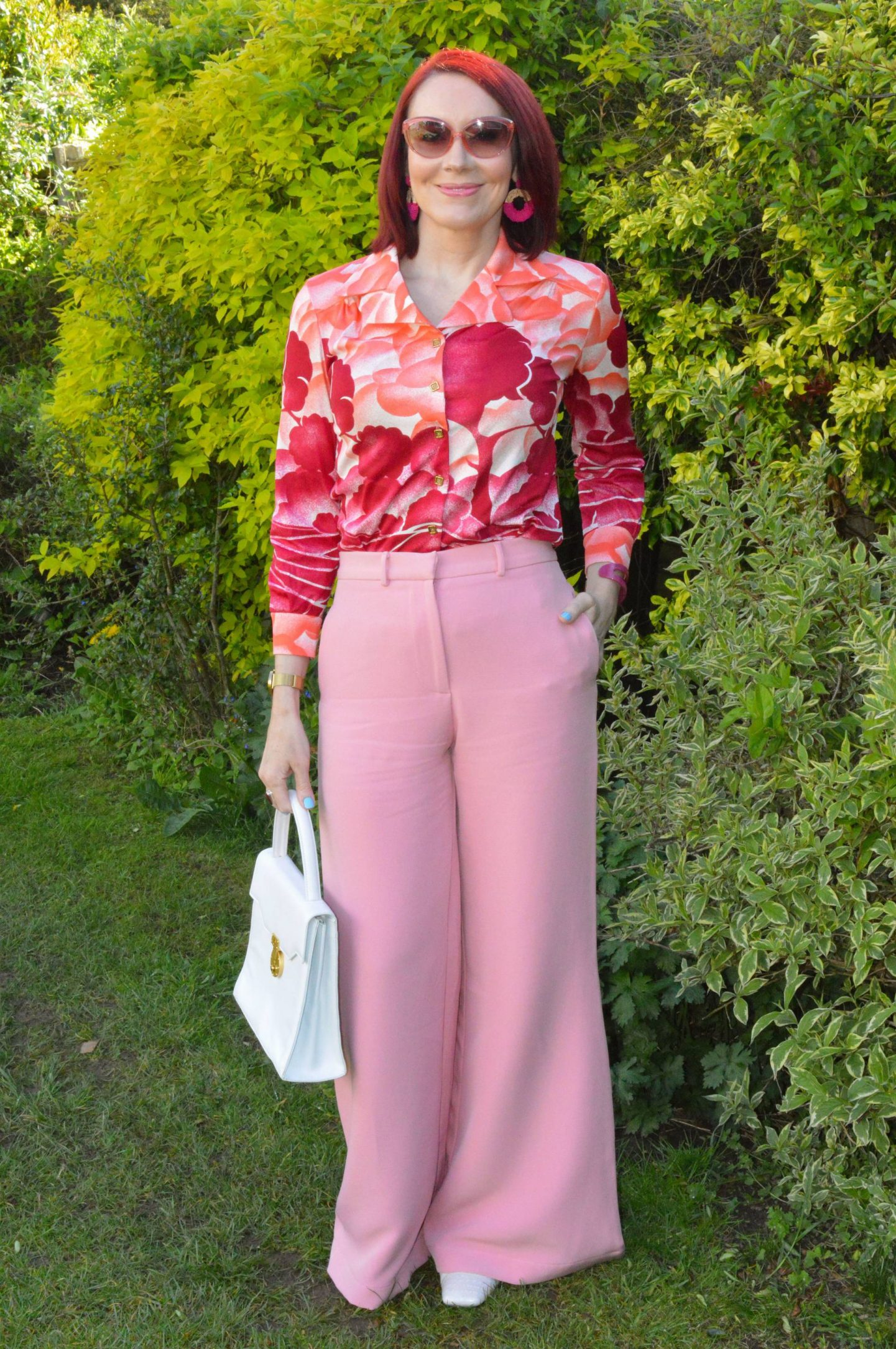 Asos Pink Wide Leg Trousers and Vintage Shirt