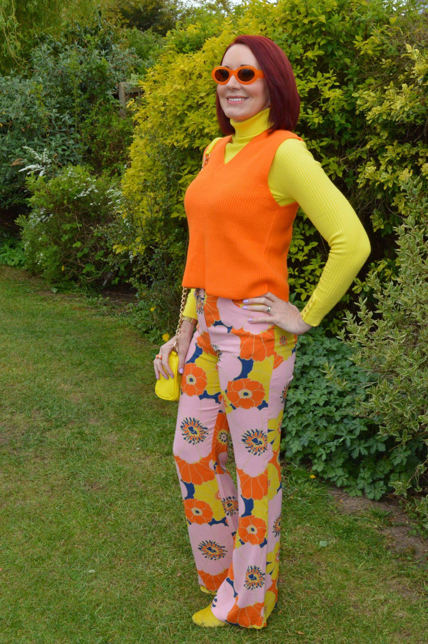Zara pink flower print Trousers, Zara orange knitted vest, New Look yellow ribbed jumper, Zara orange frame sunglasses