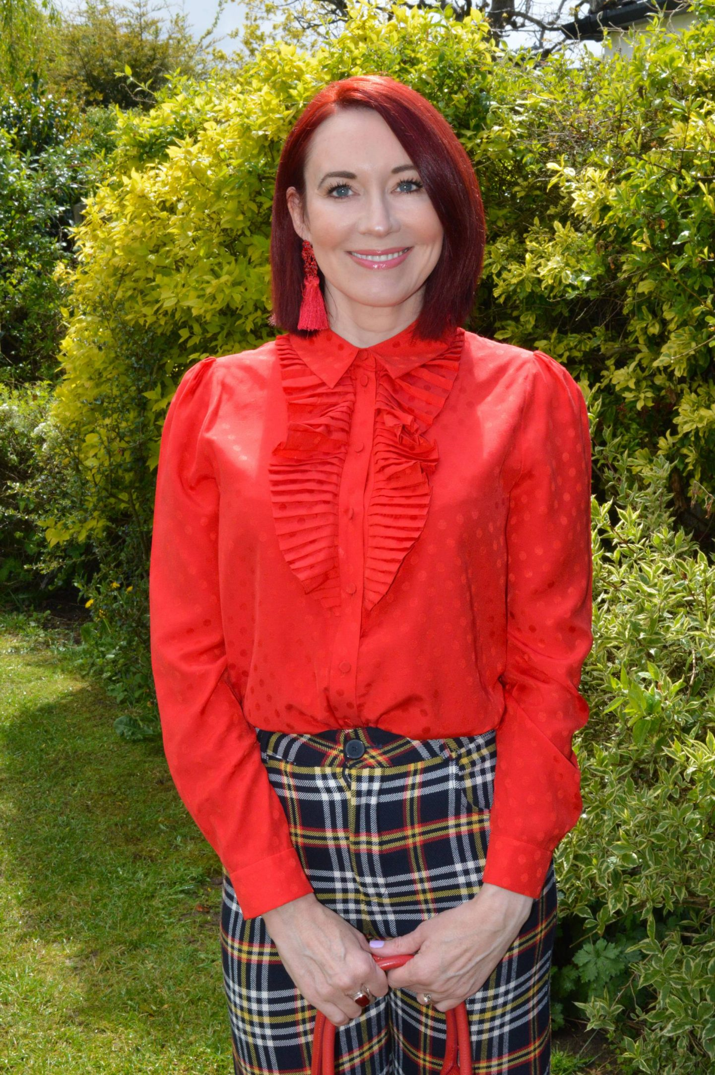 Romance and Ruffles, May Stylish Monday link up, & Other Stories red frill blouse, Zara cropped tartan trousers