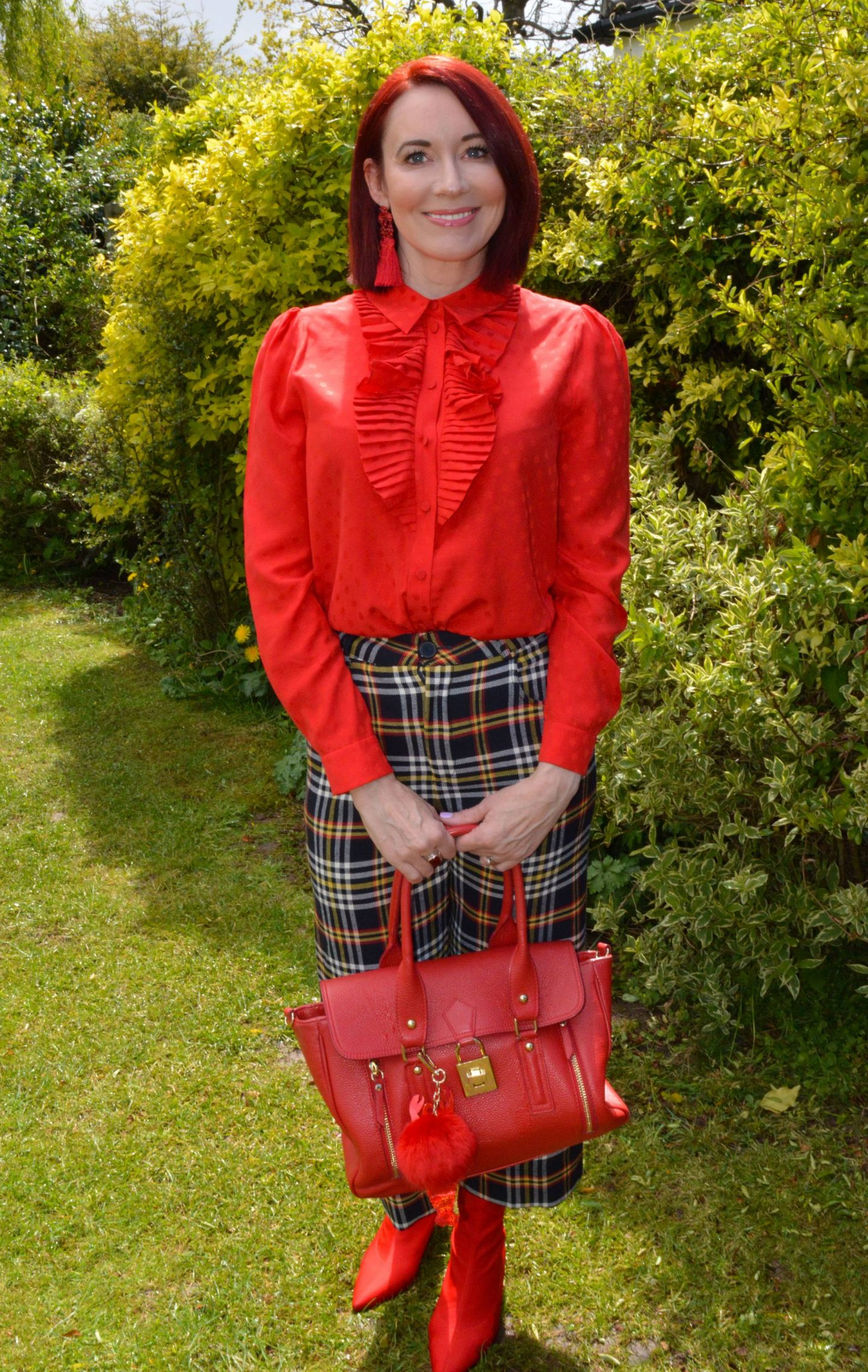 Romance and Ruffles, May Stylish Monday link up, & Other Stories red frill blouse, Zara cropped tartan trousers, Raid red sock boots