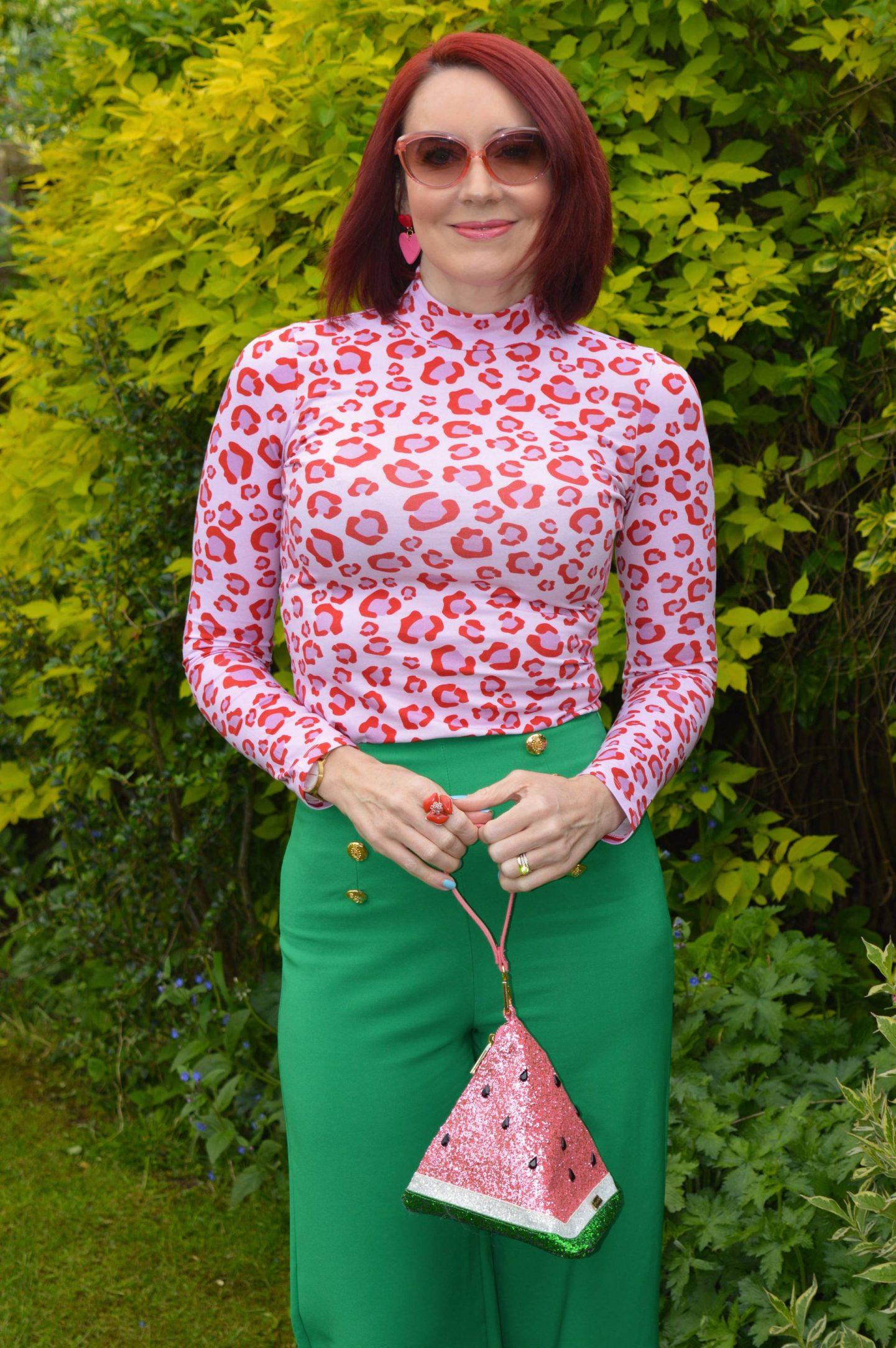 Saturday by Megan Ellaby Hazel pink  top, Skinny Dip glitter warermelon bag, Flounce emerald green trousers