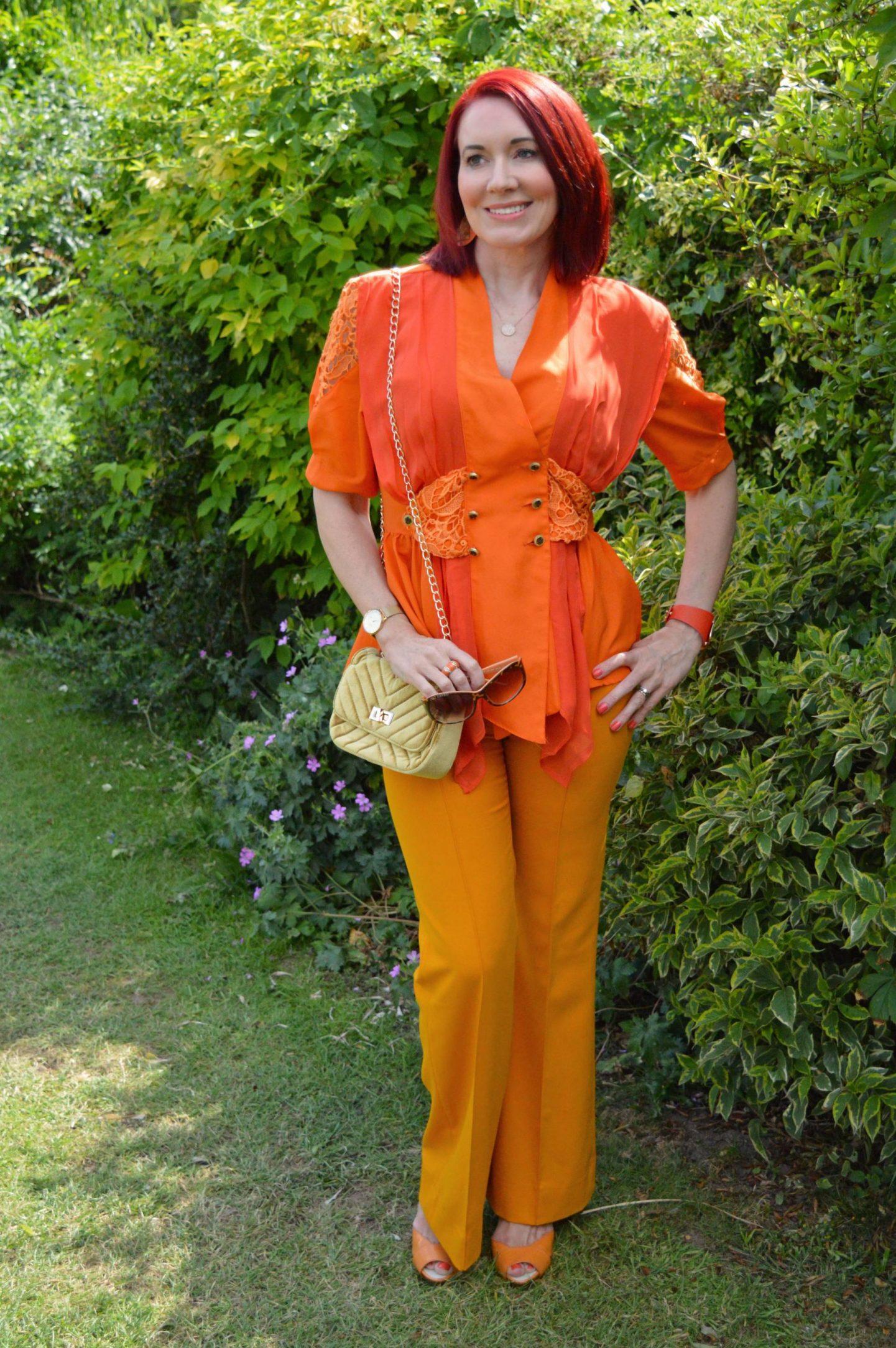 I've Got My Orange Crush + Style With a Style Link Up, vintage orange blouse, Zara marigold orange trousers, Miss Sixty orange sandals