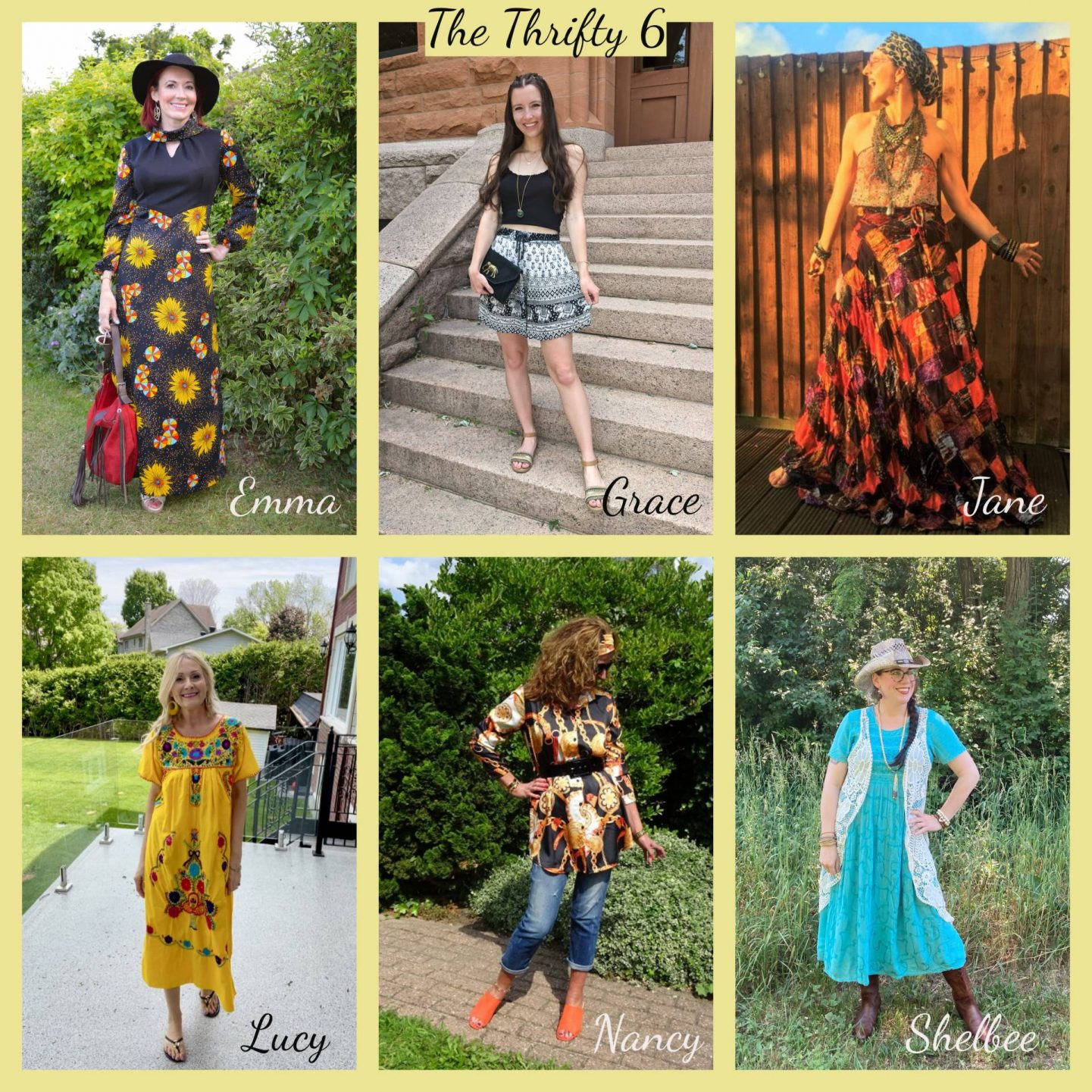 Boho Summer Style - June's Thrifty Six collage