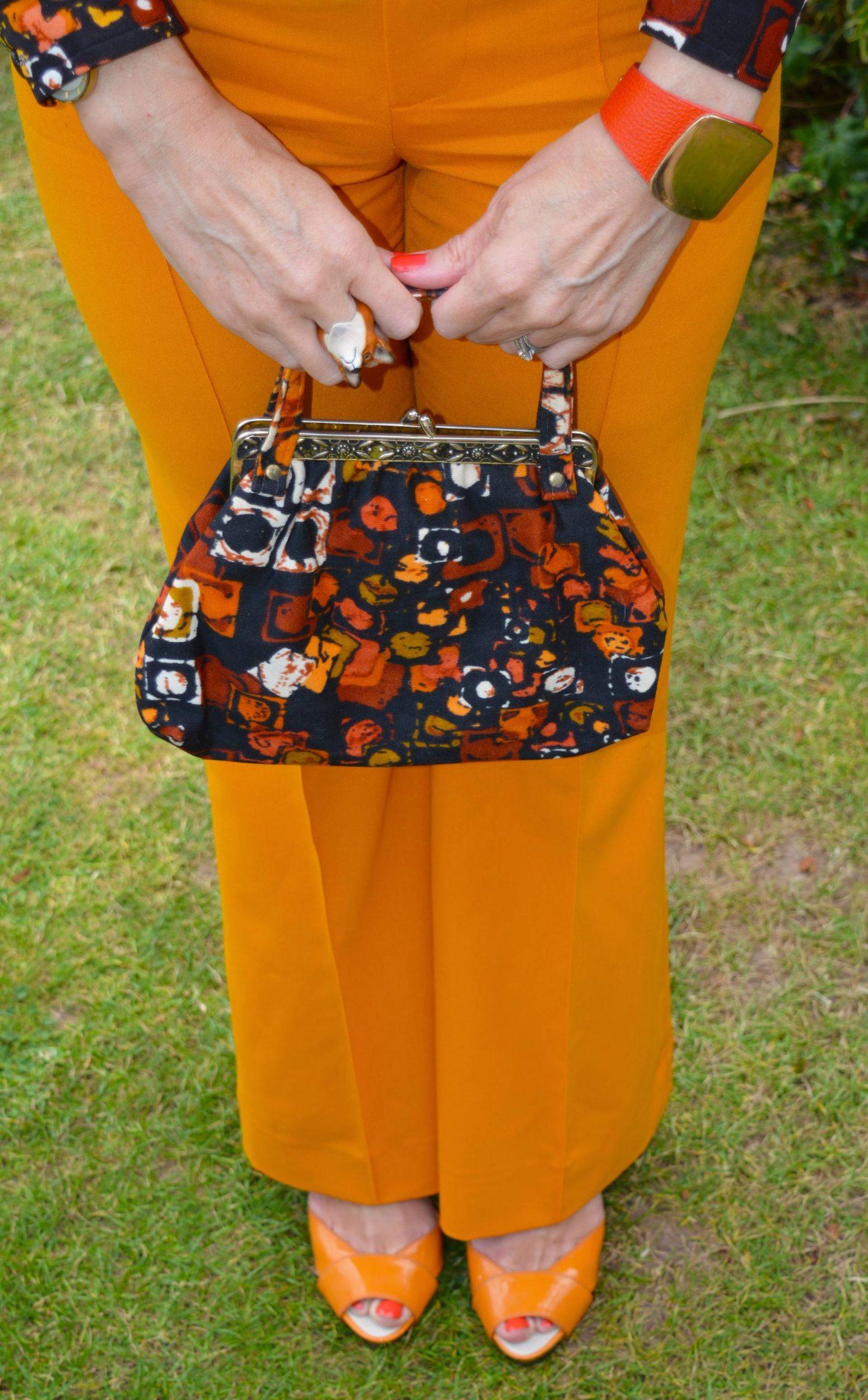 Vintage brown print bag, marigold Zara trousers, Miss Sixty orange sandals