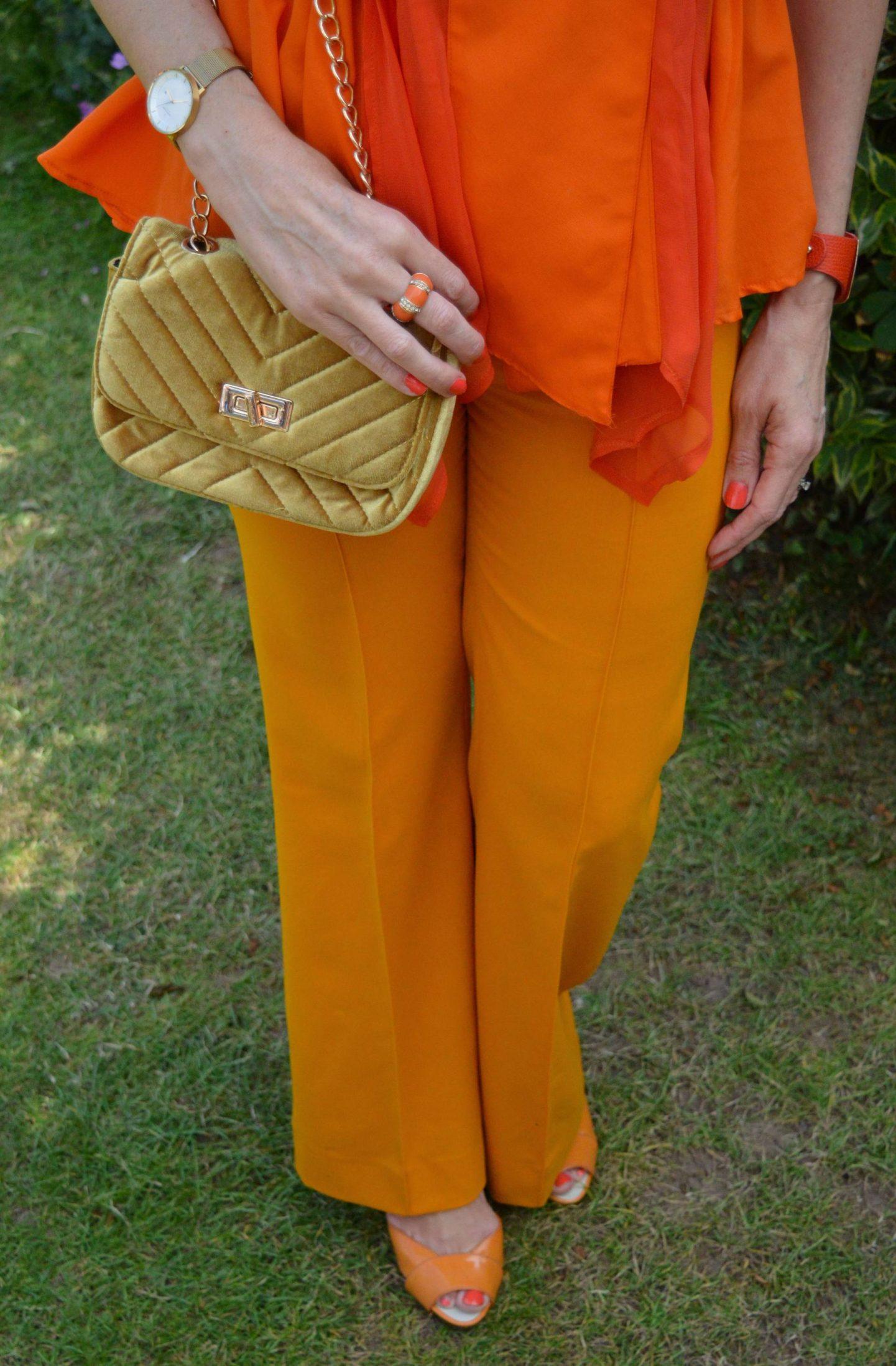 Zara orange trousers, Oasis mustard yellow velvet  bag