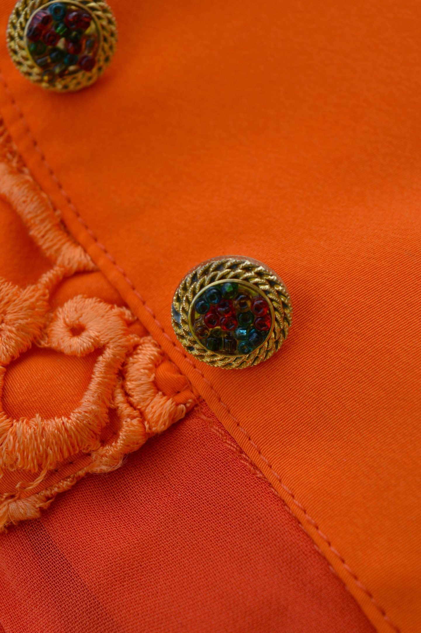 close up of beaded button