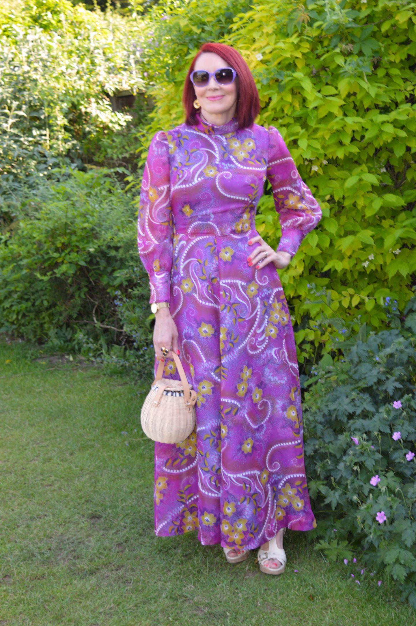 Purple Vintage Maxi Dress, Zara structured woven bag