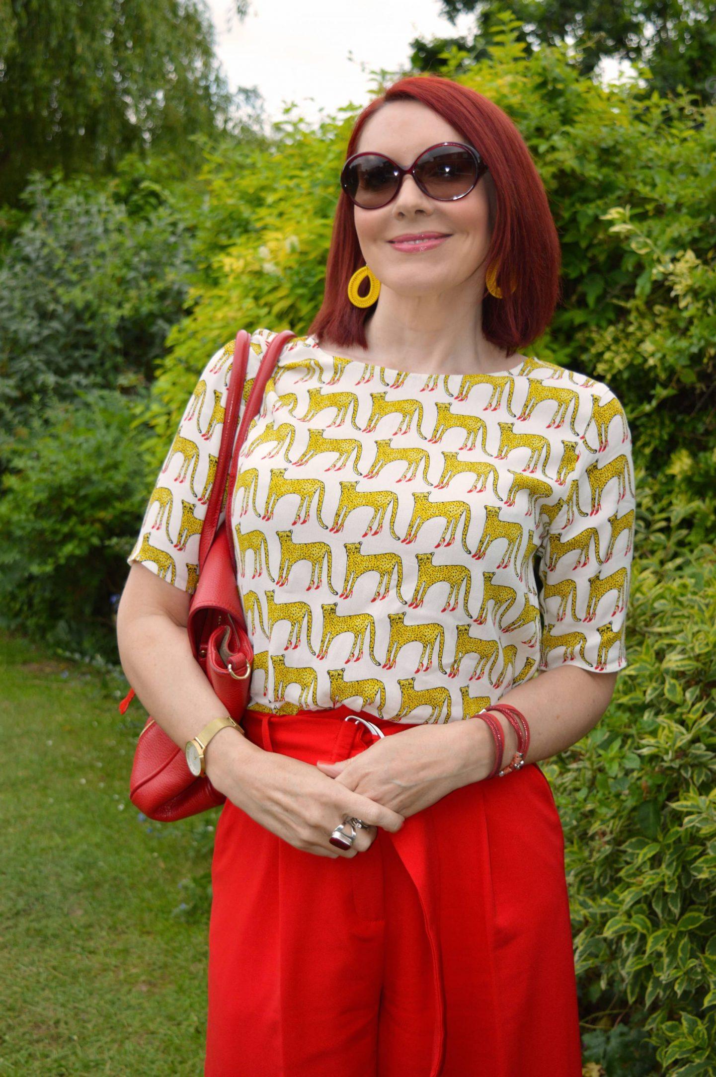 Cheetahs in High Heels Fabienne Chapot cheetah print top, Asos red culottes