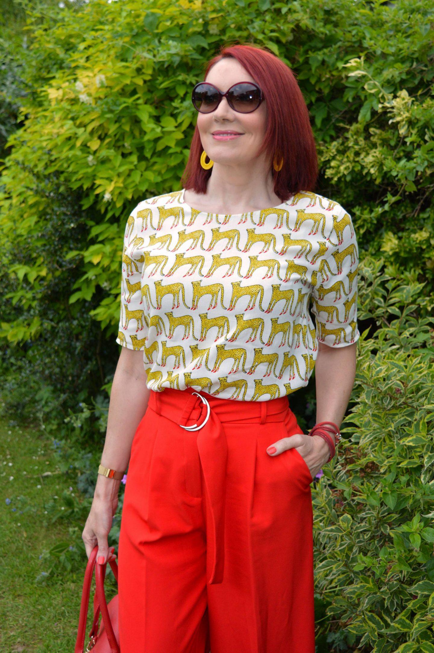 Cheetahs in High Heels Fabienne Chapot top, red culottes