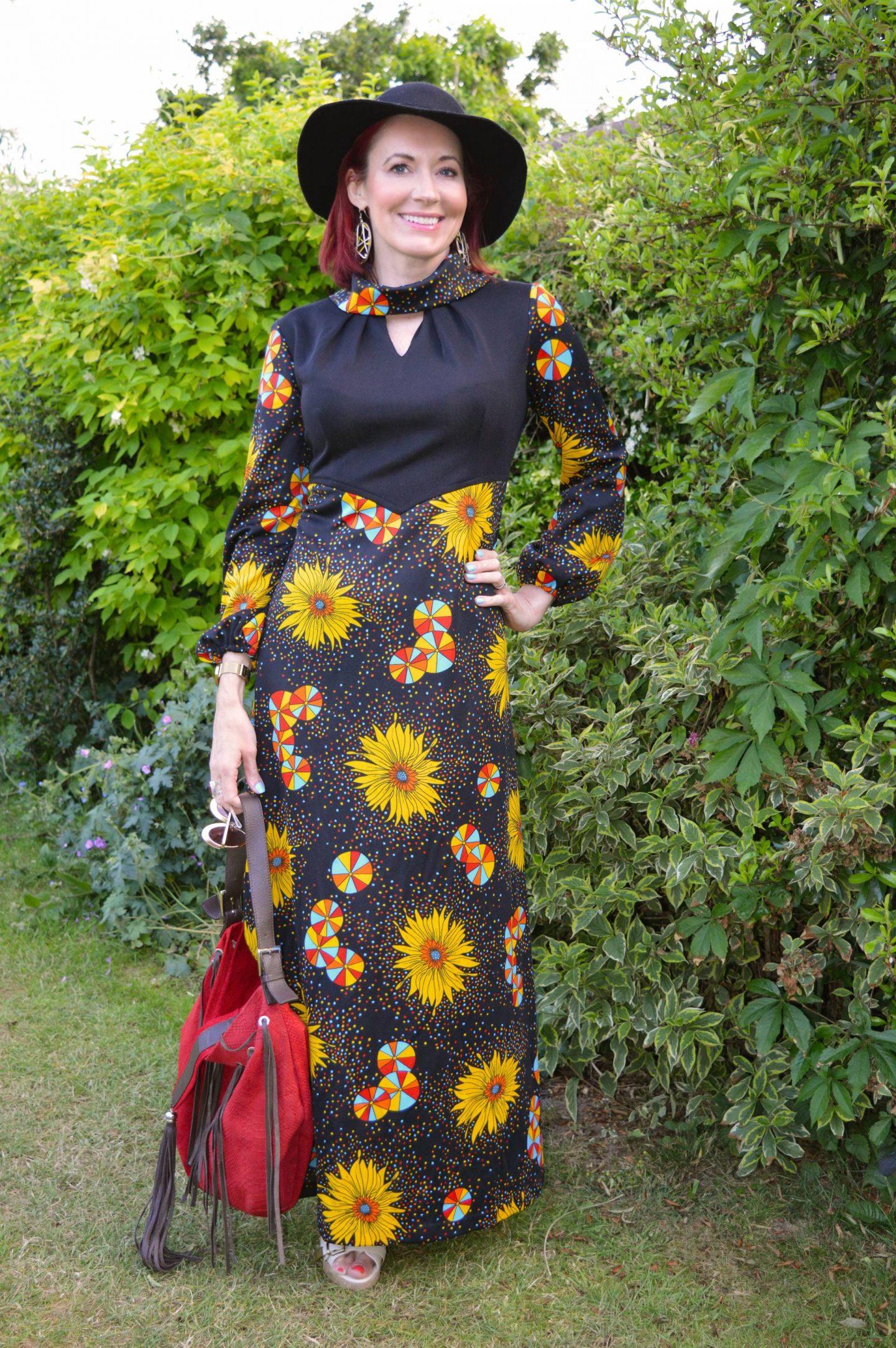 Boho Summer Style - June's Thrifty Six, black vintage flower print maxi dress