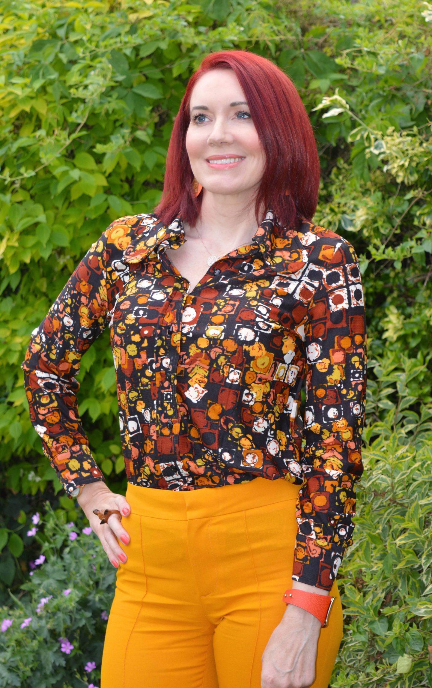 Vintage brown print shirt, marigold Zara trousers