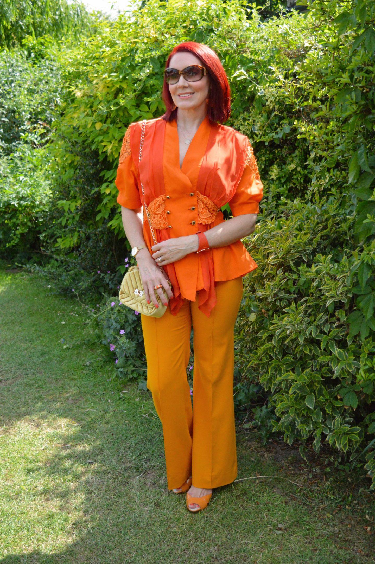 I've Got My orange blouse, Zara marigold orange trousers, Miss Sixty orange sandals