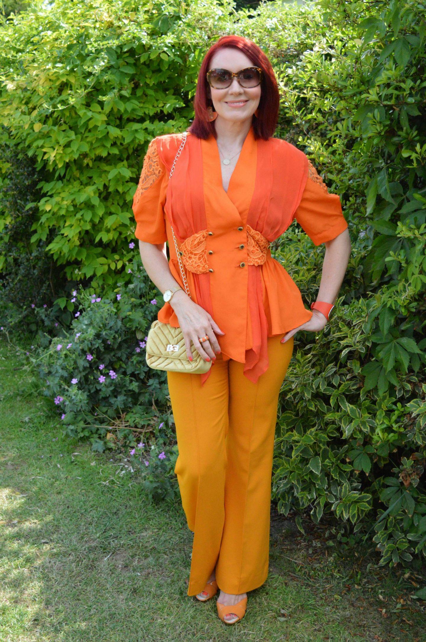 Orange Crush, vintage orange blouse, Zara orange trousers, Miss Sixty orange sandals