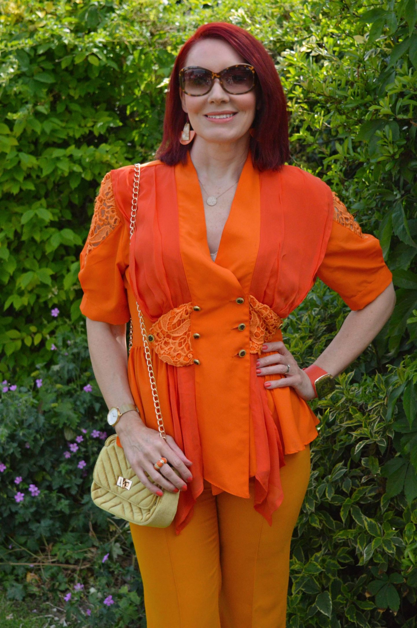 Orange Crush, vintage orange blouse, Zara marigold orange trousers, Miss Sixty orange sandals