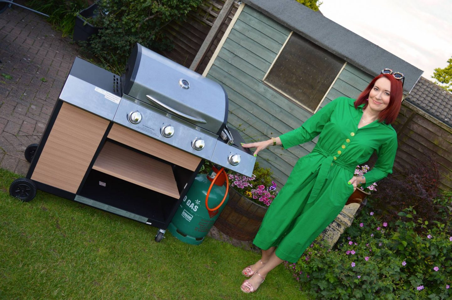 Sizzlin' Backyard BBQ Style - July's Stylish Monday Link Up, Love Your Look green parrot jumpsuit