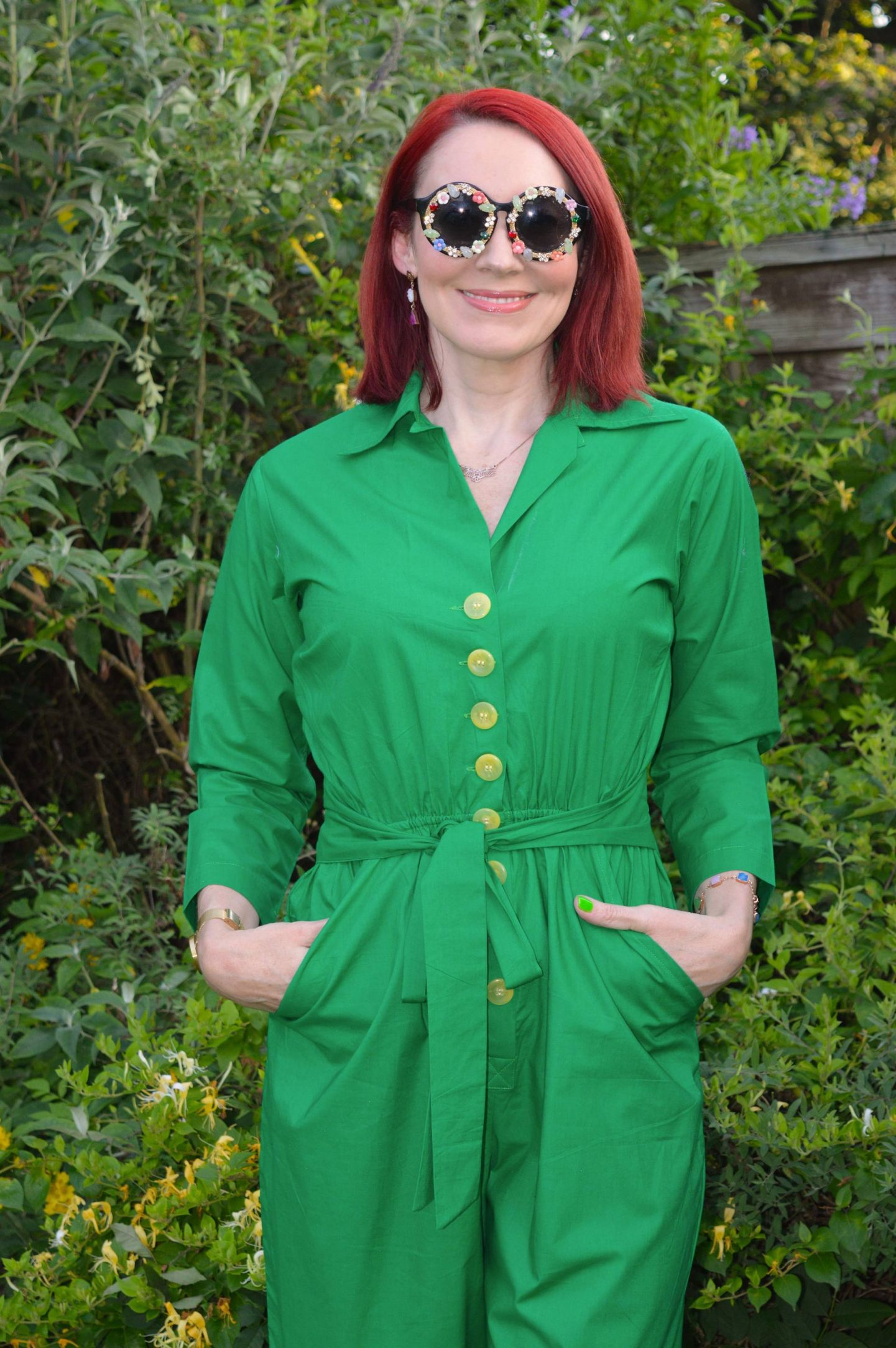 Sizzlin' Backyard BBQ Style - July's Stylish Monday Link Up, Love Your Look green parrot jumpsuit, Katy Perry embellished sunglasses