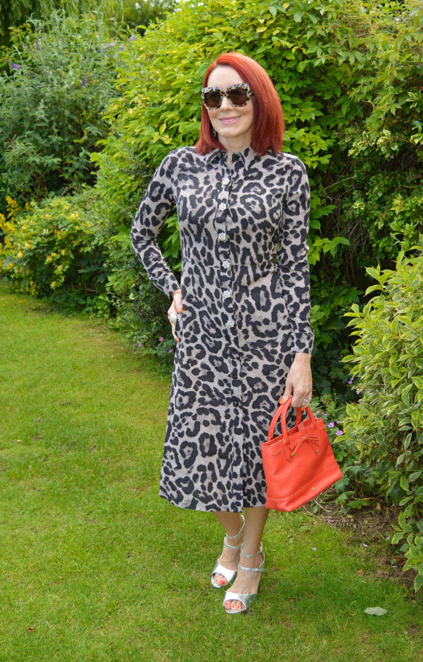 Blinged Up Leopard Print, Mela London leopard print shirt dress, Goodnight Irene button covers, Escada square marble sunglasses, Laura Ashley orange bag, Papaya silver strappy sandals