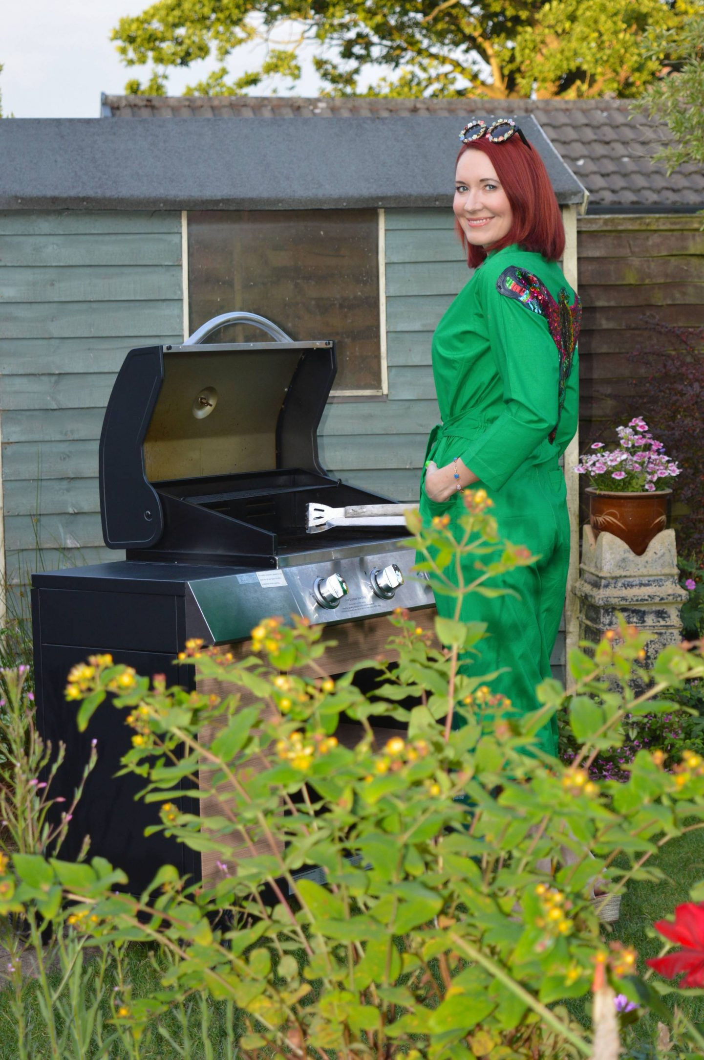 Sizzlin' Backyard BBQ Style, Love Your Look green parrot jumpsuit