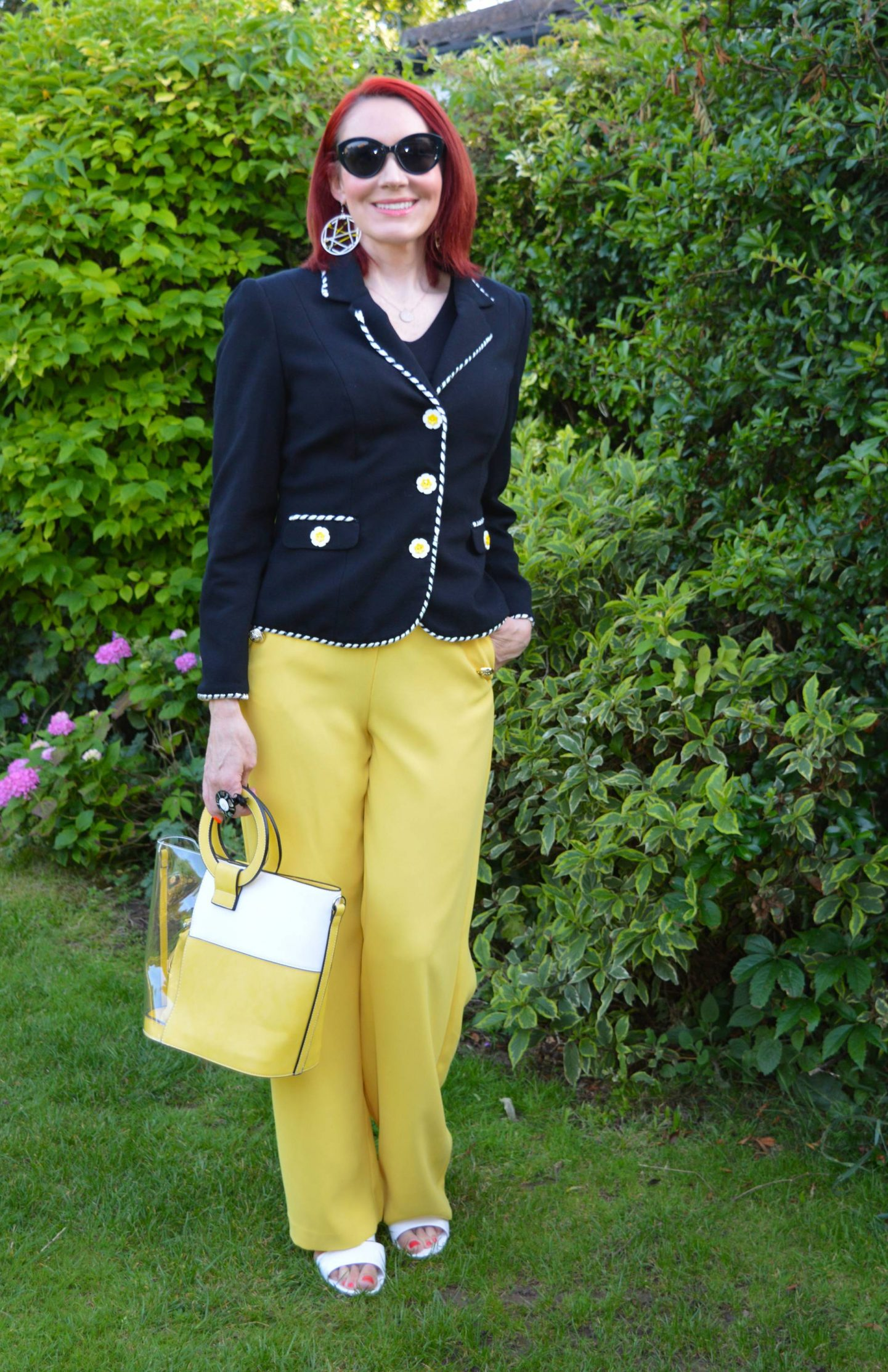 Creative Cover Ups - July's Thrifty Six, Marks & Spencer black jacket with flower buttons, River island yellow trousers