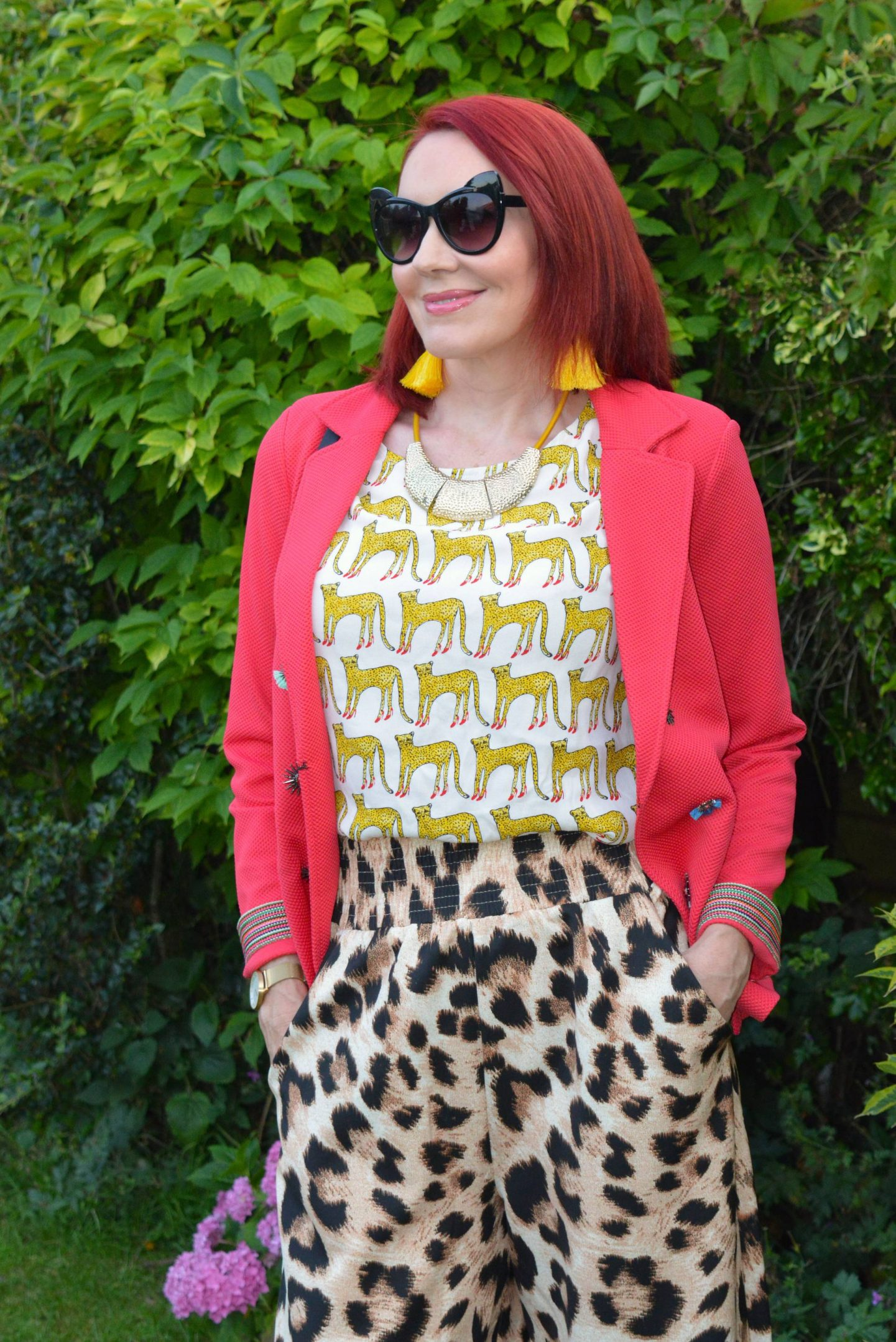Jackets For July - Style Not Age, Pom Amsterdam raspberry jacket, Fabienne Chapot cheetah top, Asos leopard print trousers