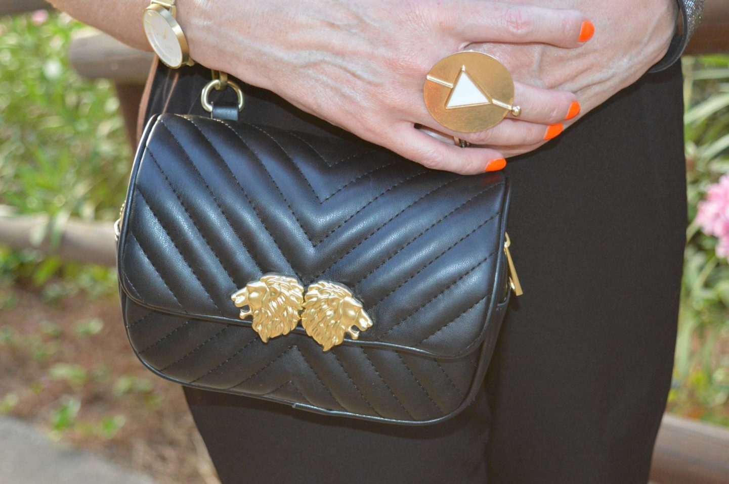 gold disc ring, Zara quilted crossbody bag