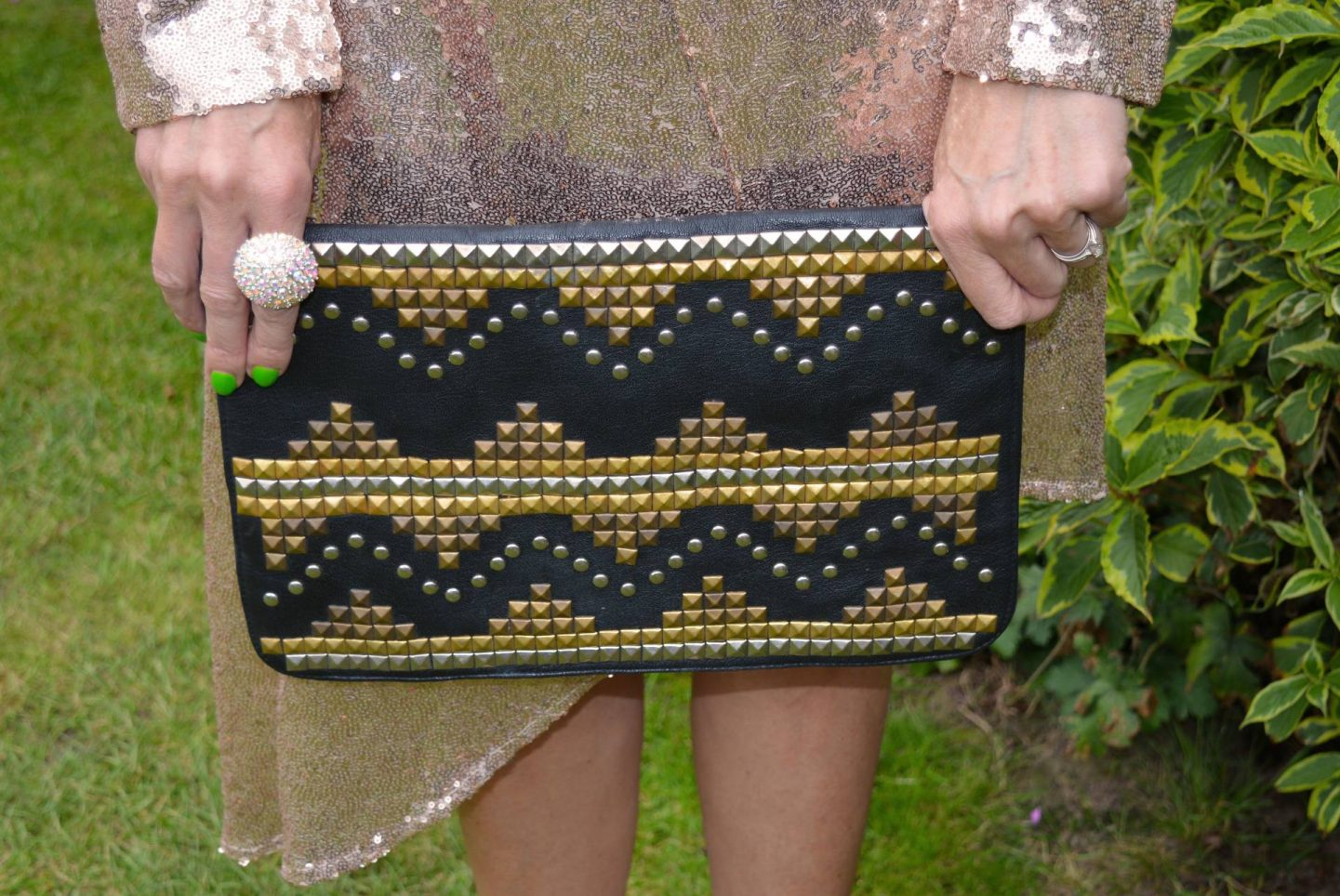 Fool's Gold - August's Thrifty Six, Asos black studded clutch
