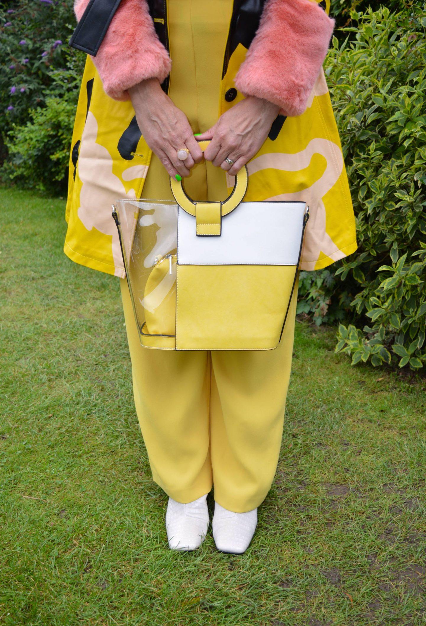 Desigual x Miranda Makaroff Coat, River Island yellow trousers