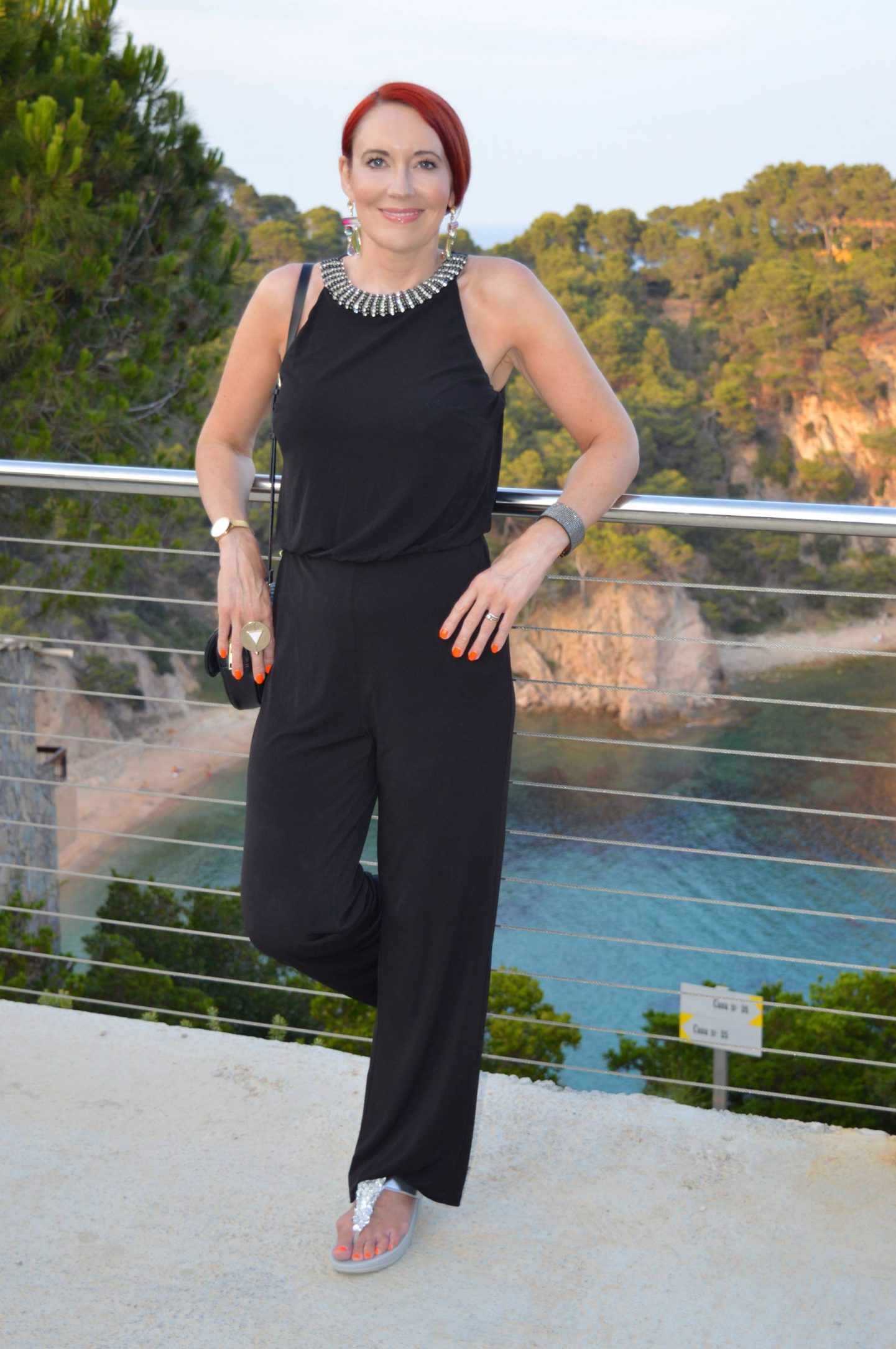 Black Issa diamante neck jumpsuit, silver embellished FitFlops