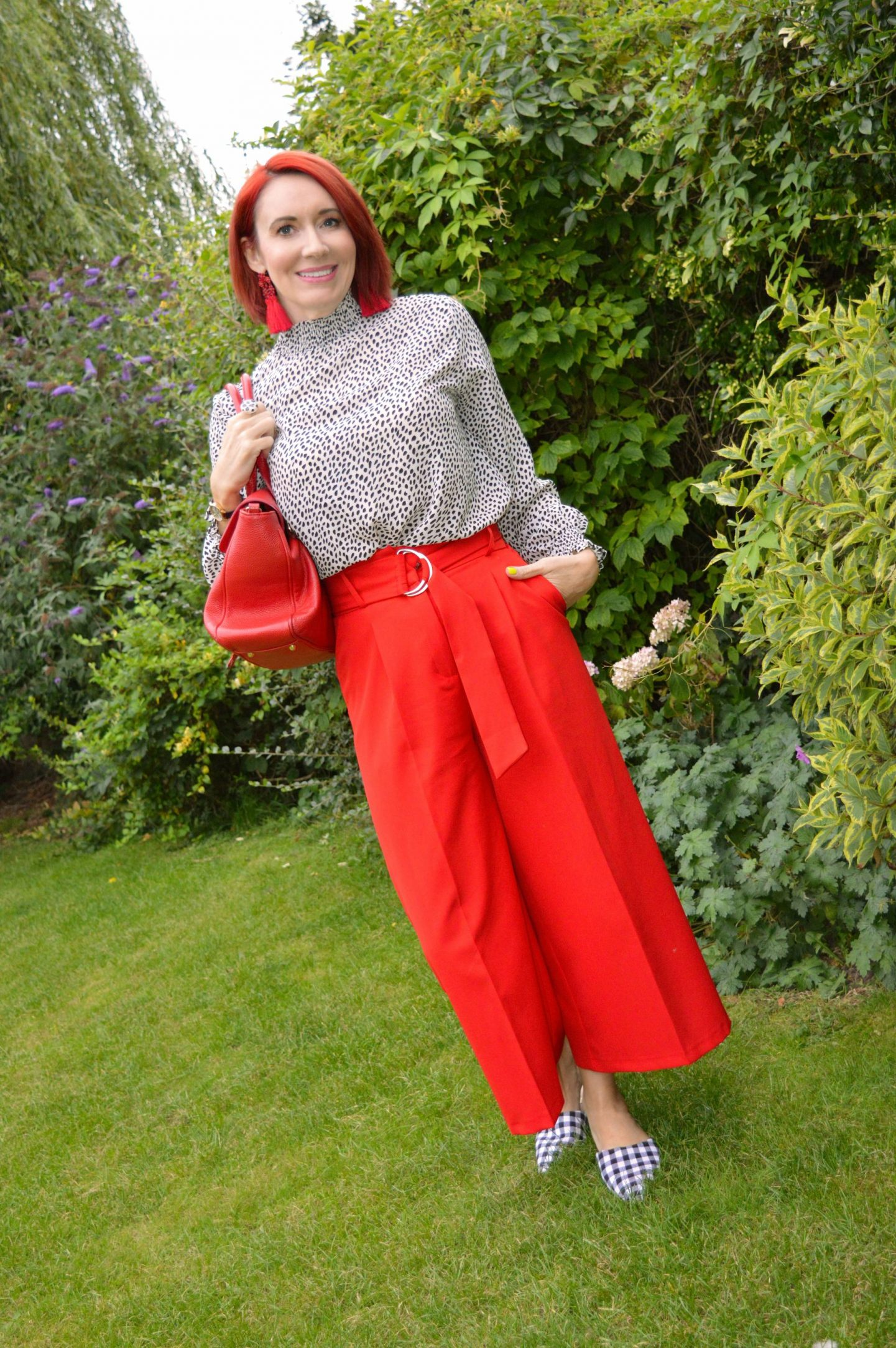 Black and White Spot Blouse With Red Culottes, Coast black and white spotted shirred neck top, Asos red culottes, Asos gingham mules