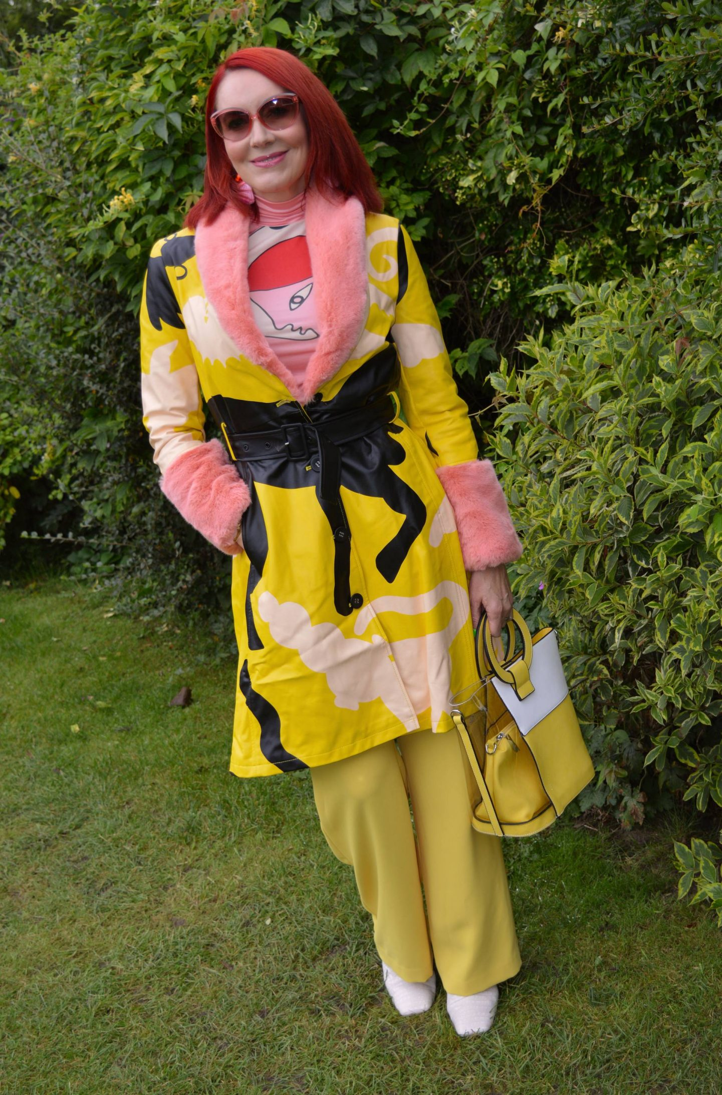 Desigual x Miranda Makaroff Coat and mesh top, Style With a Smile Link Up, River Island yellow trousers