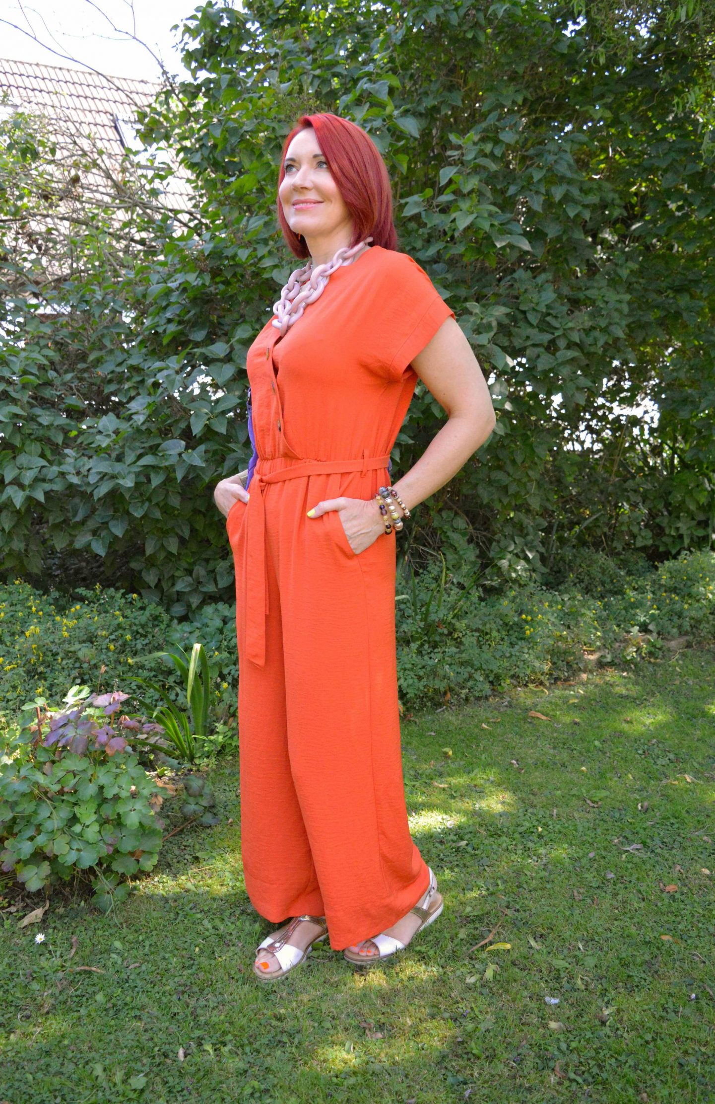 Orange Belted Jumpsuit, Ri2k purple bag