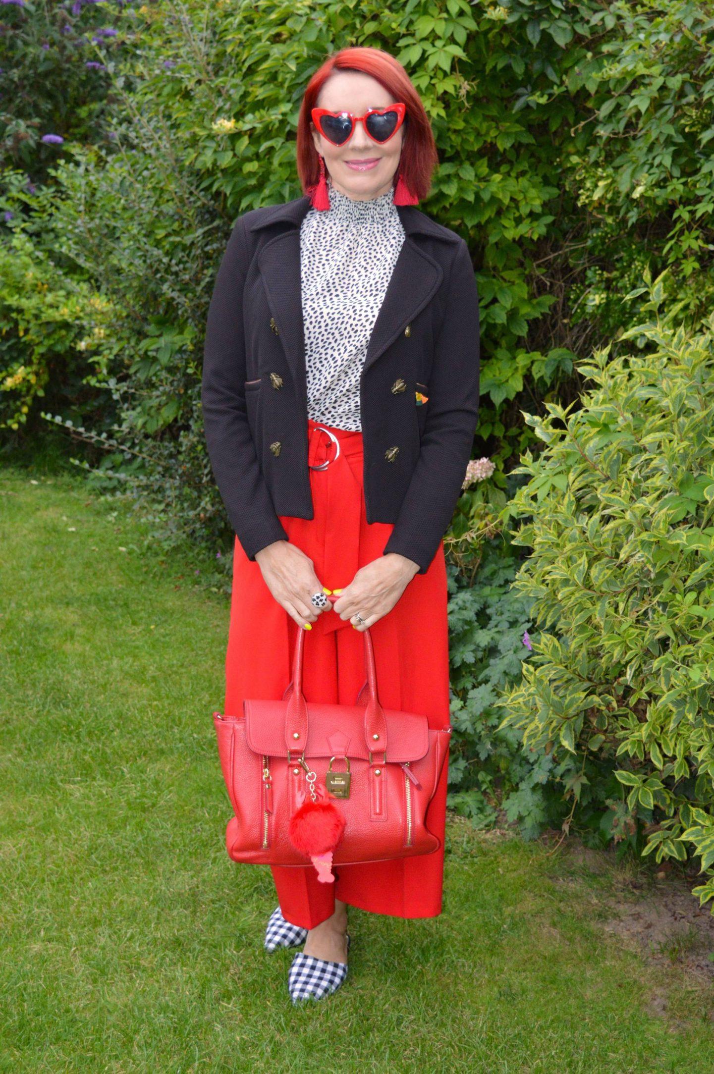 Coast spotted shirred neck top, Asos red culottes, Asos gingham mules, Pom Amsterdam bugs jacket, red heart sunglasses