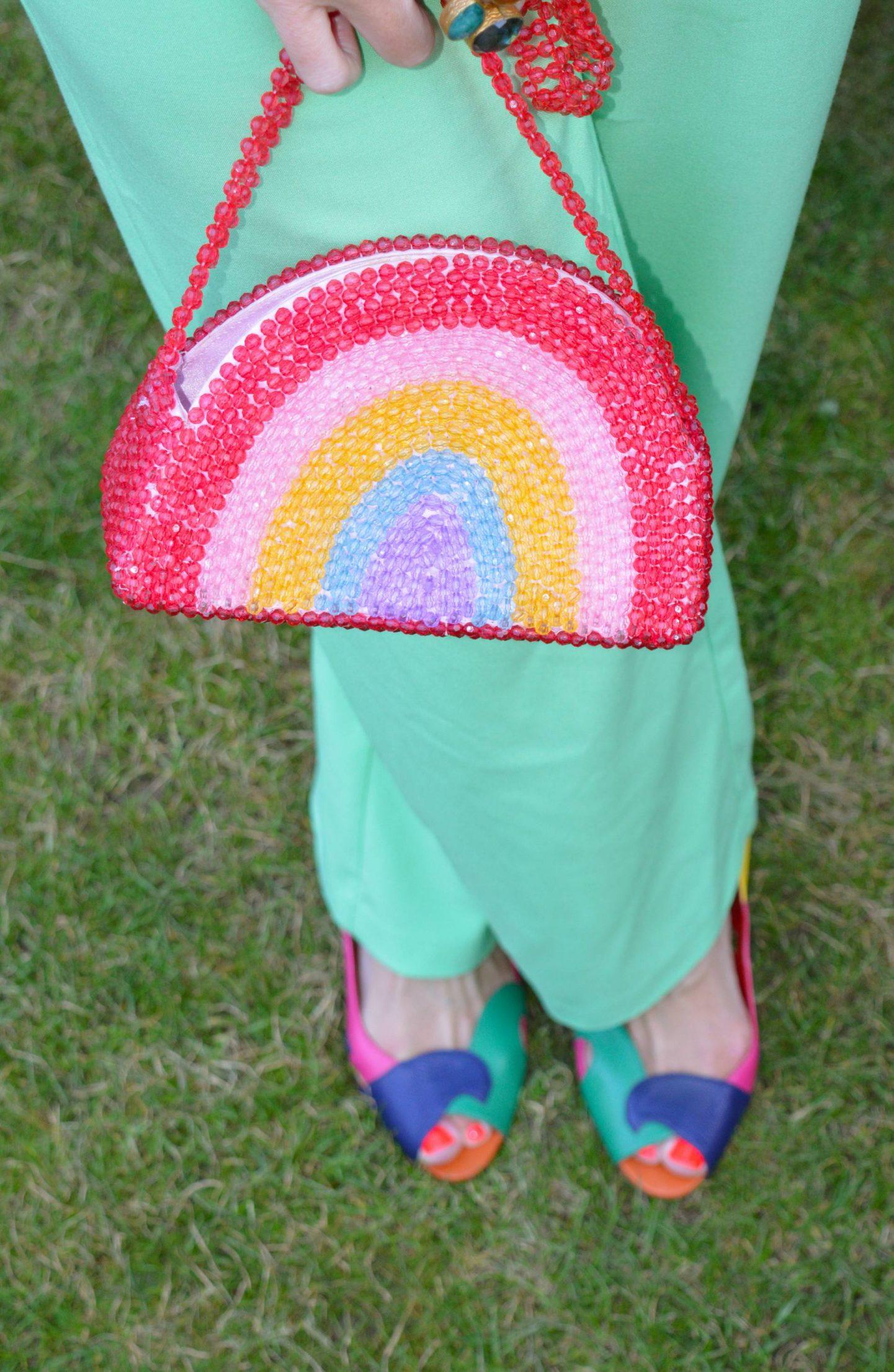 Skinny Dip beaded rainbow bag