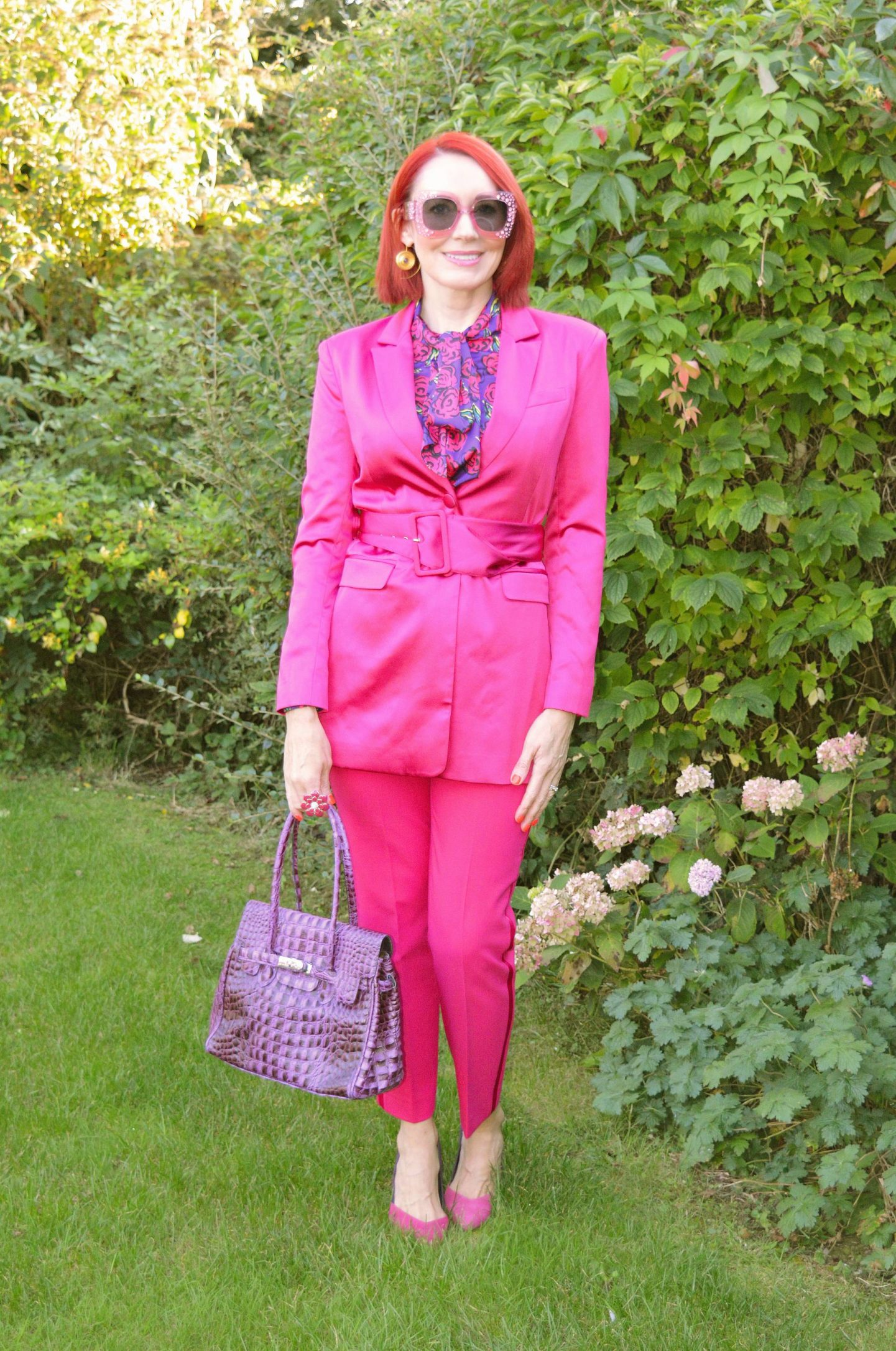 Pretty in Pink - September's Style Not Age, Asos hot pink belted jacket, Zara pink trousers, Asos pink oversized sunglasses, Hawes & Curtis blouse