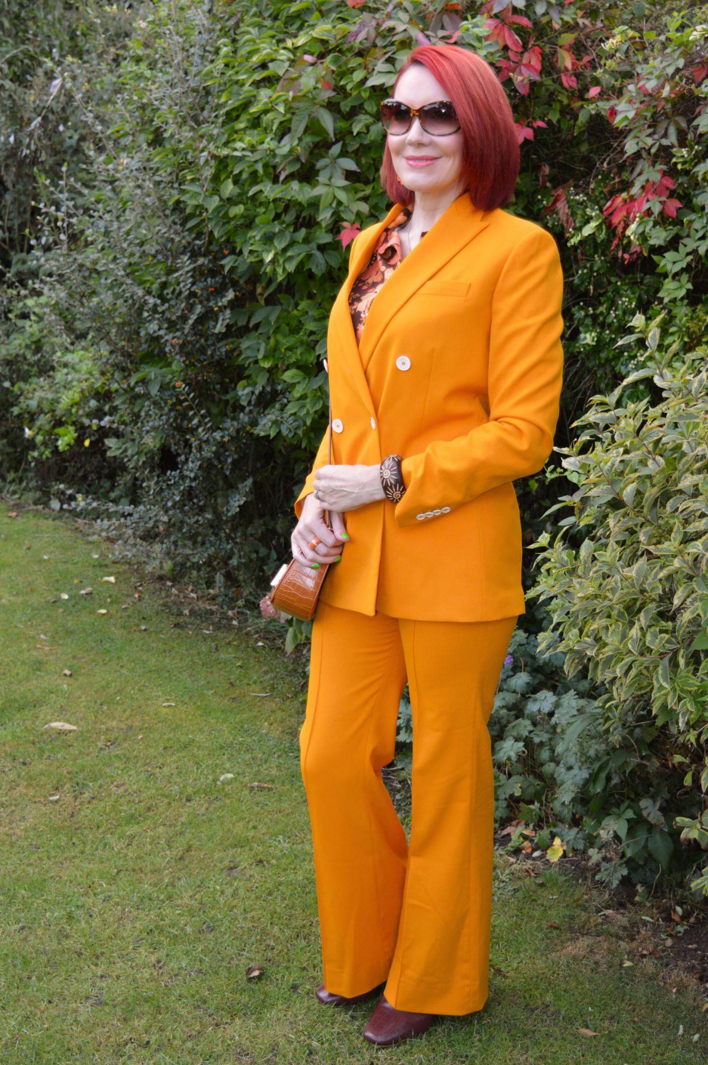 Zara Marigold Trouser Suit and Vintage Shirt