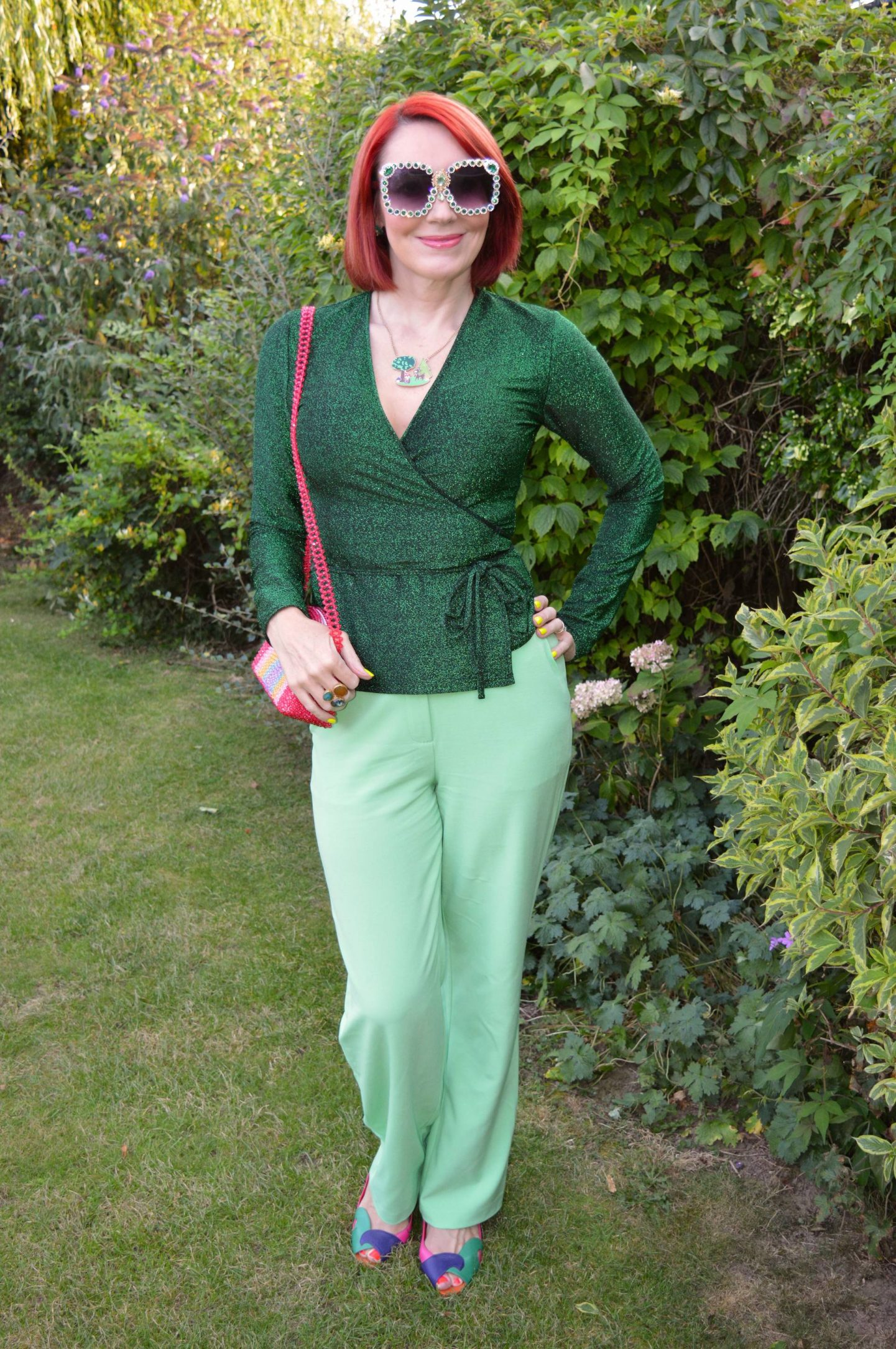 Green Sparkles and Bling + Style With a Smile Link Up, Kitri green lurex wrap top, Asos lime green trousers, Skinny Dip beaded rainbow bag. Hollywood Vintage sunglasses