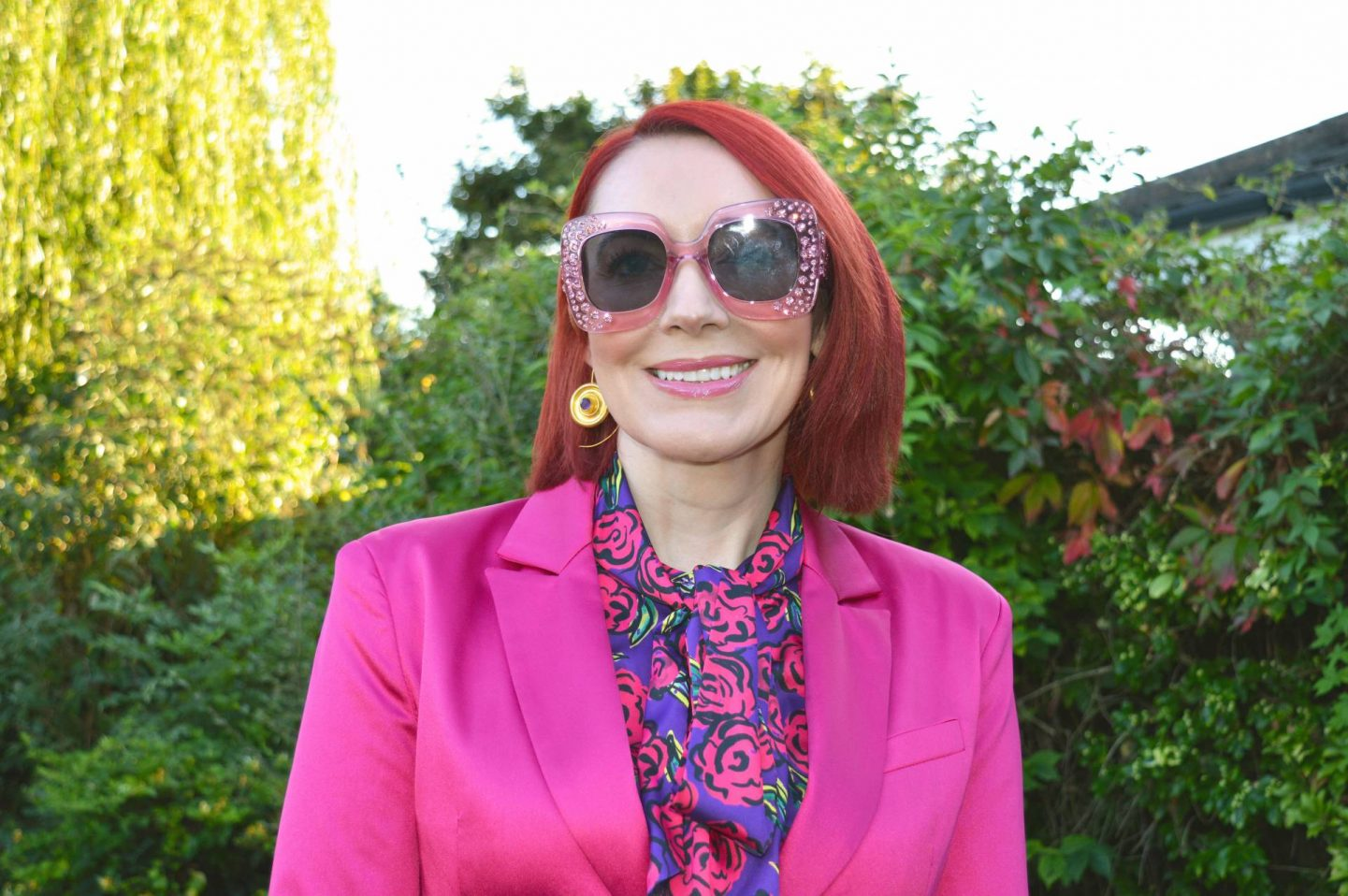 Pretty in Pink - September's Style Not Age, Asos hot pink belted jacket, Asos pink oversized sunglasses, Hawes & Curtis blouse, Ottoman Hands gold disc earrings