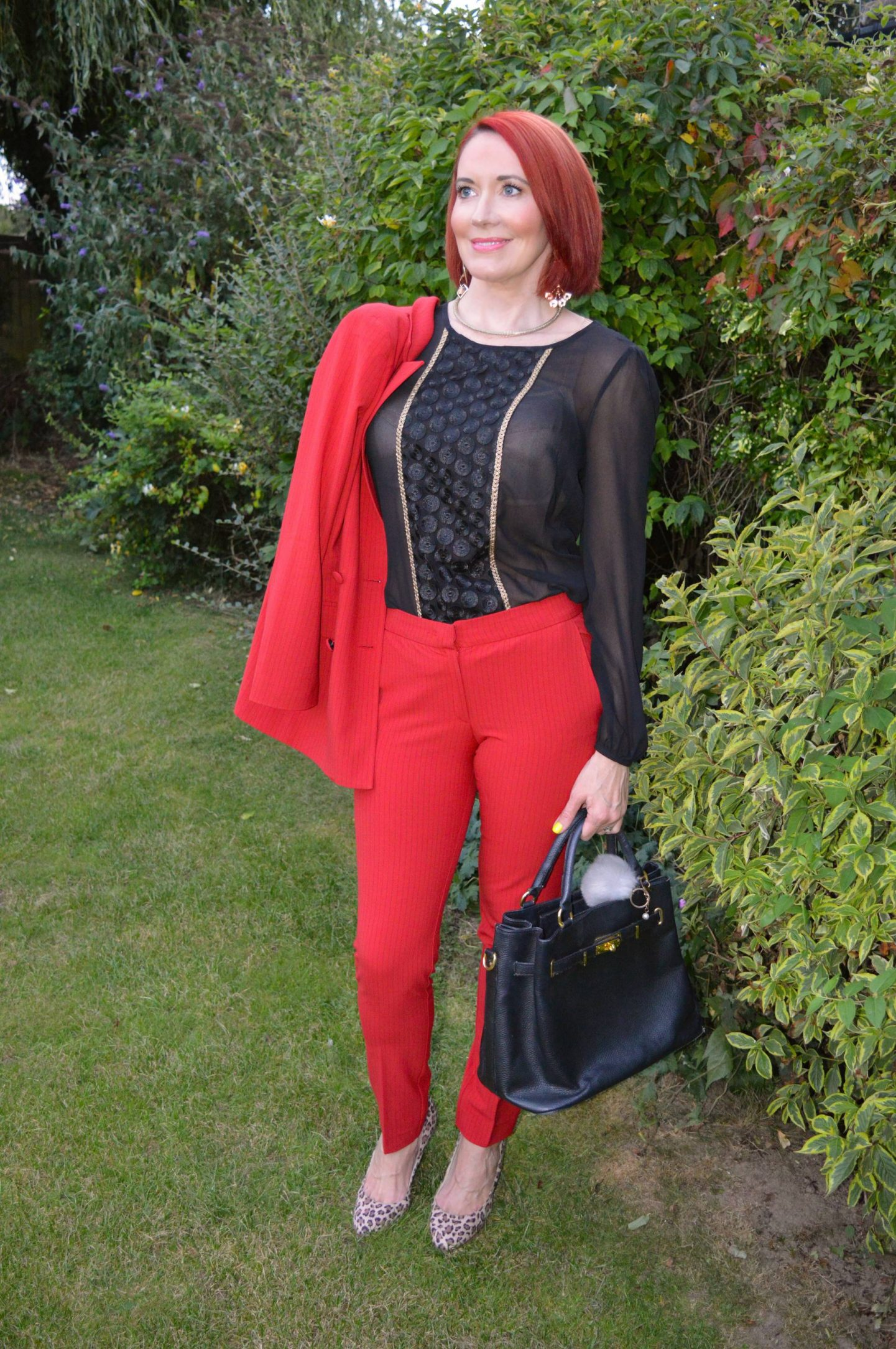 Red Alert Trouser Suit, Style & Suit Red Alert blazer and trousers, Marks & Spencer black sheer blouse, New Look leopard print shoes