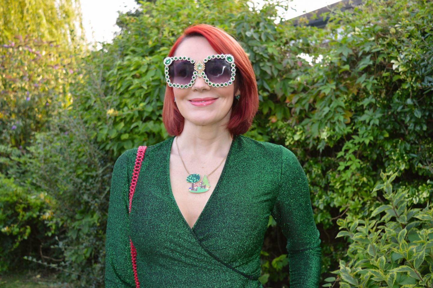 Green Sparkles and Bling + Style With a Smile Link Up, Kitri green lurex wrap top, Hollywood Vintage sunglasses