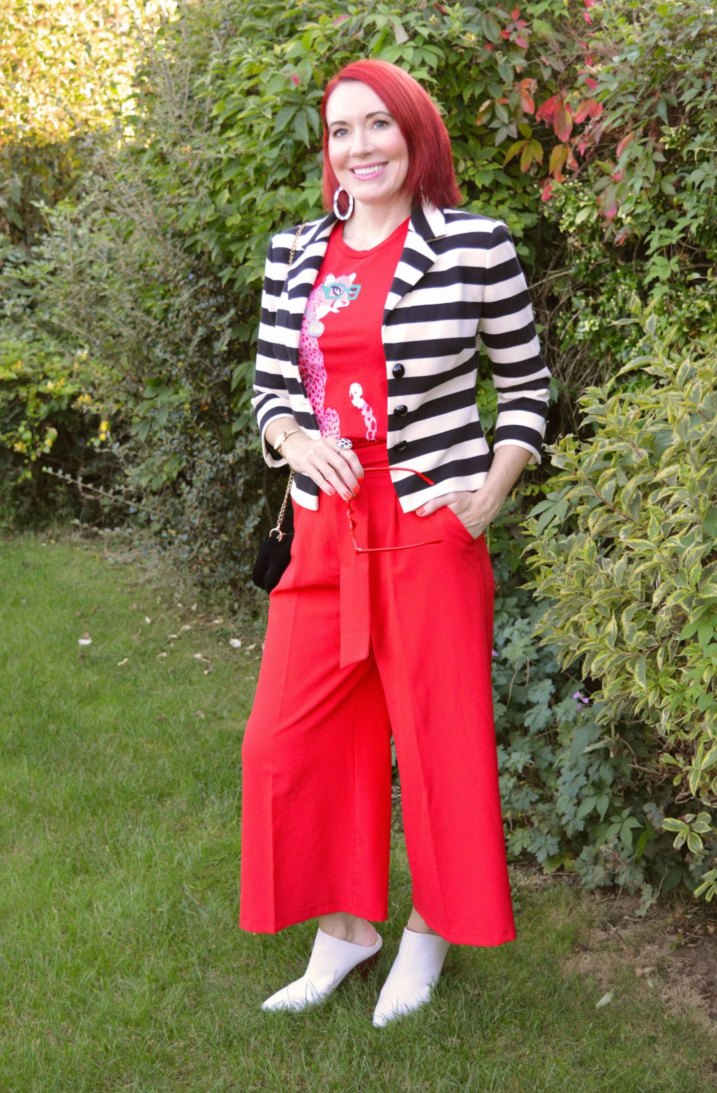 Simply Stripes - September's Thrifty Six, Marks & Spencer black and white striped jacket, Asos red culottes, Soul Sisters red cheetah T-shirt, River Island white shoe boots
