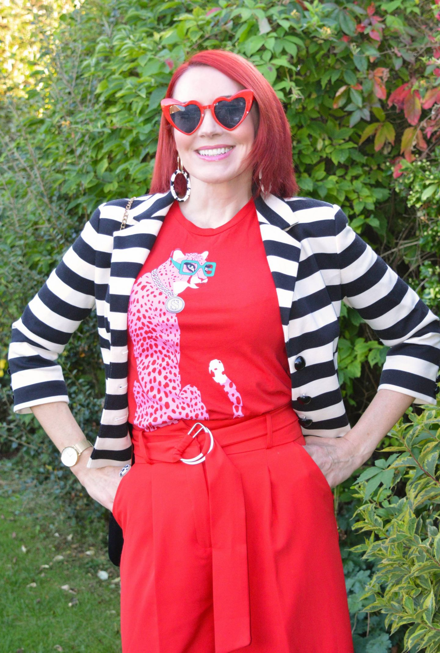 Simply Stripes - September's Thrifty Six, Marks & Spencer black and white striped jacket, Asos red culottes, Soul Sisters red cheetah T-shirt, red heart sunglasses