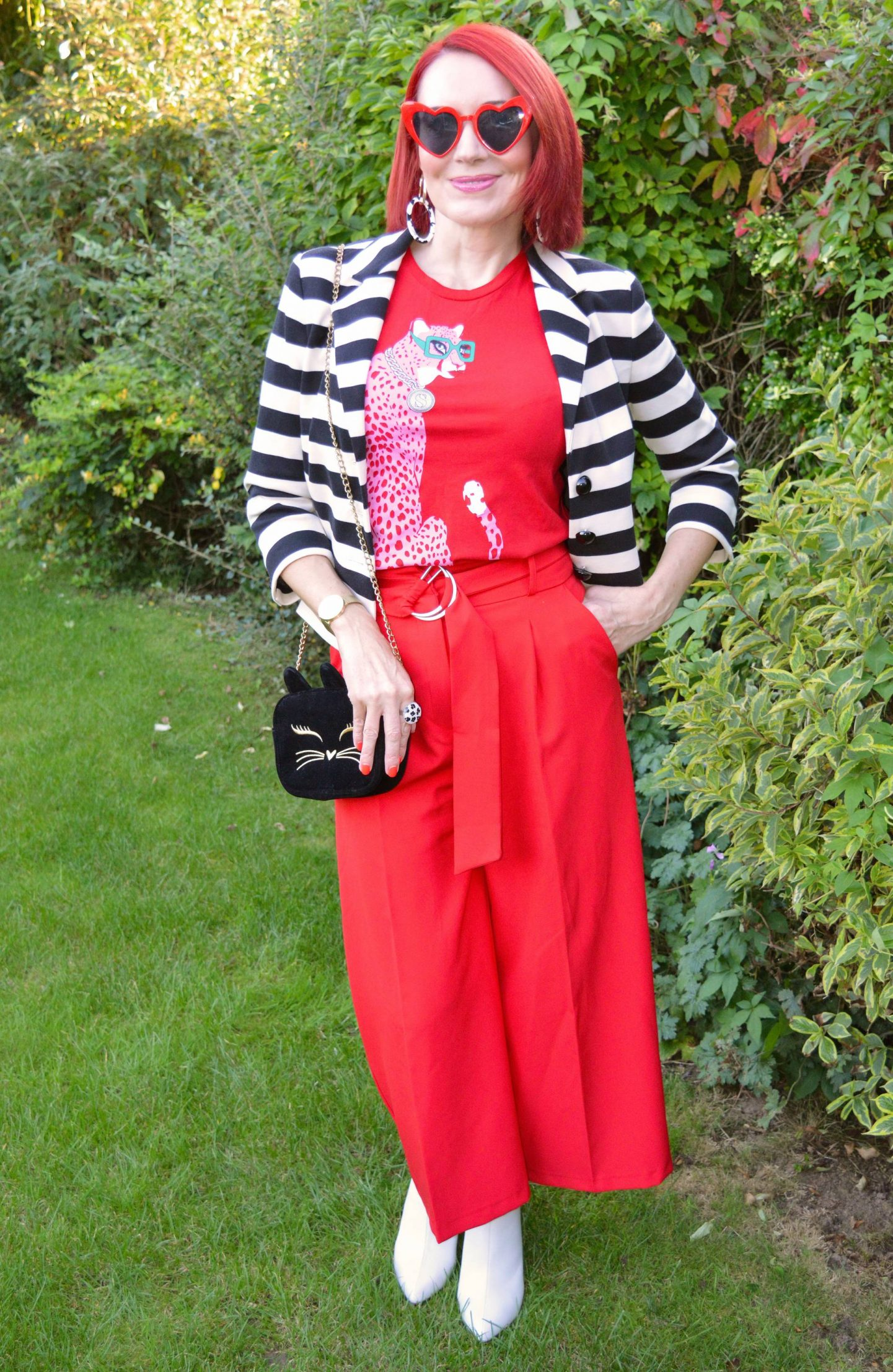 Simply Stripes - September's Thrifty Six, Marks & Spencer black and white striped jacket, Asos red culottes, Soul Sisters red cheetah T-shirt, River Island white shoe boots, red heart sunglasses