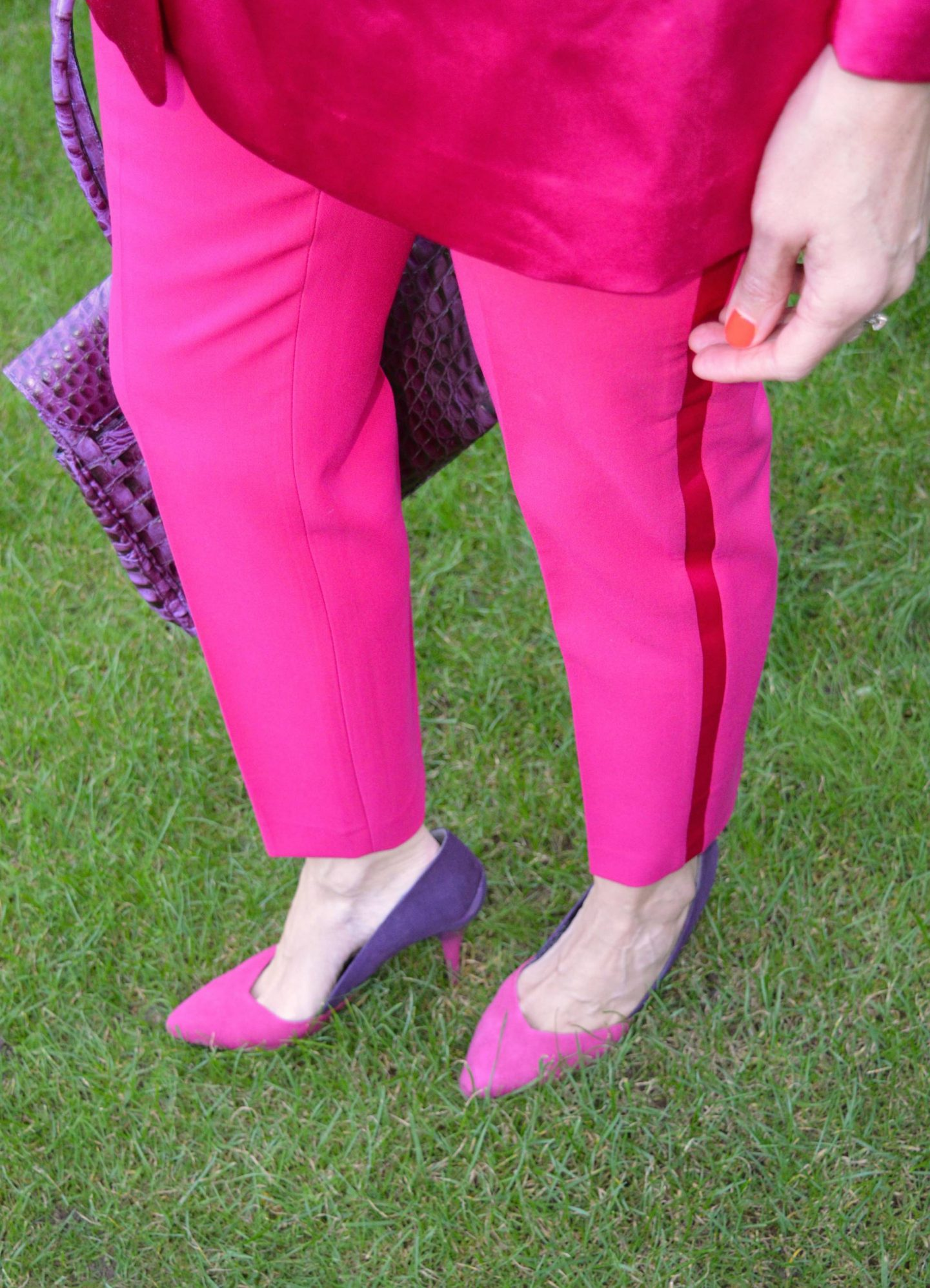 Zara pink trousers, New Look two tone pink and purple shoes