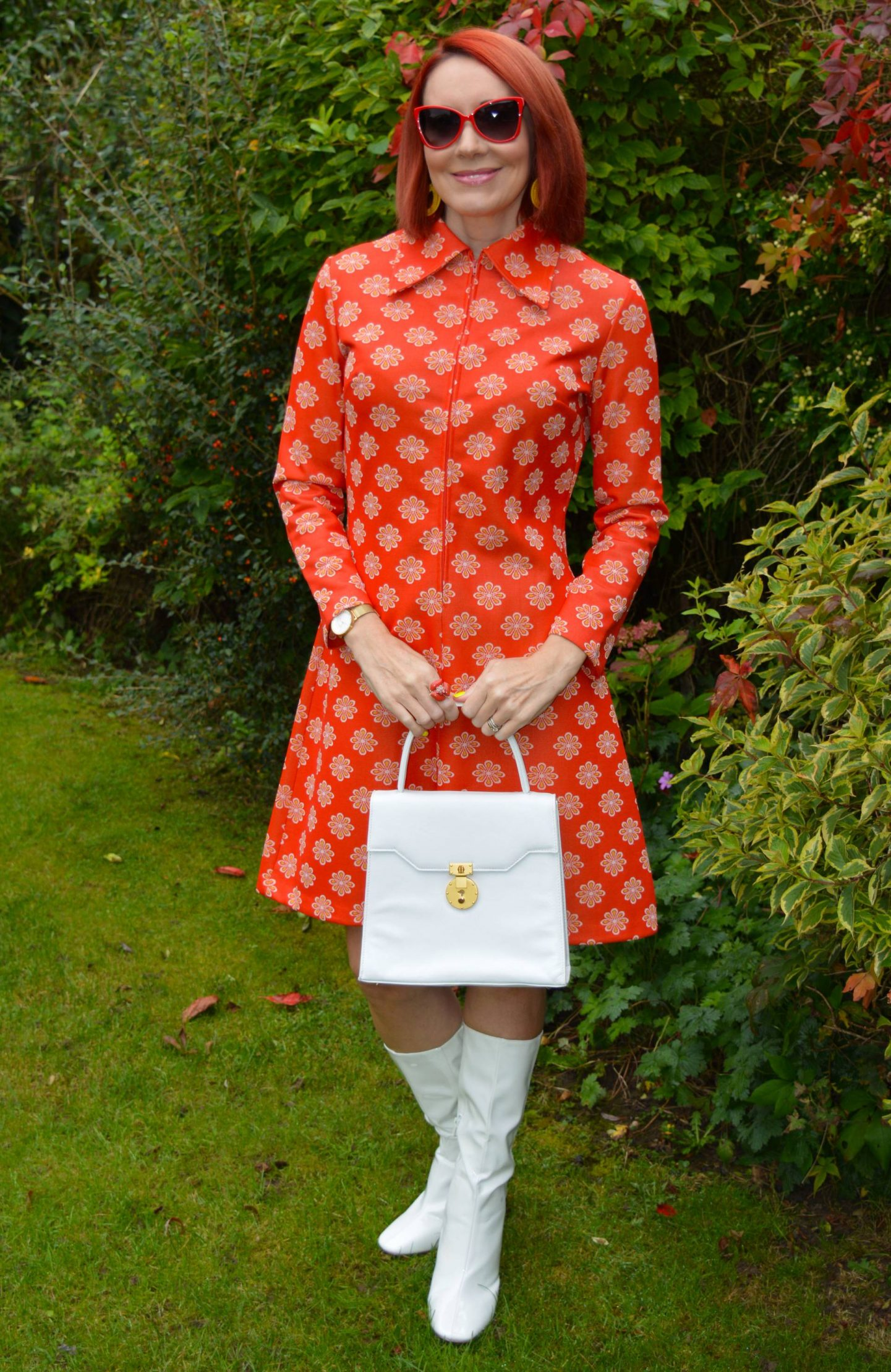 Vintage St Michael Dress and White Boots, Moschino red butterfly shaped sunglasses